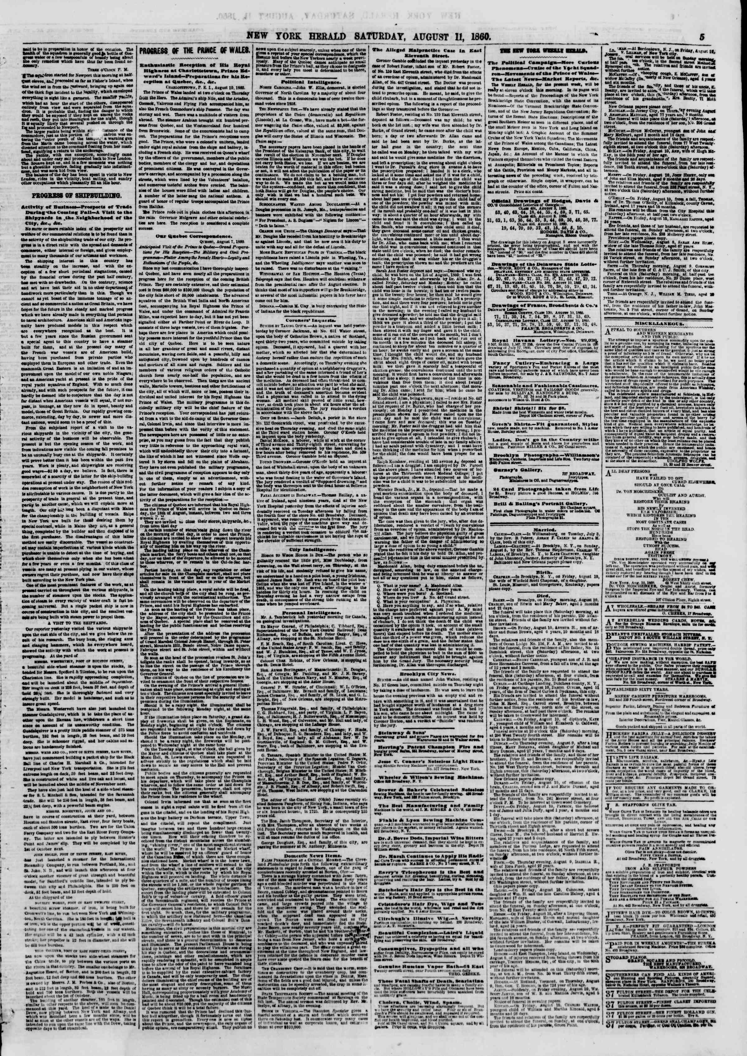 Newspaper of The New York Herald dated August 11, 1860 Page 5