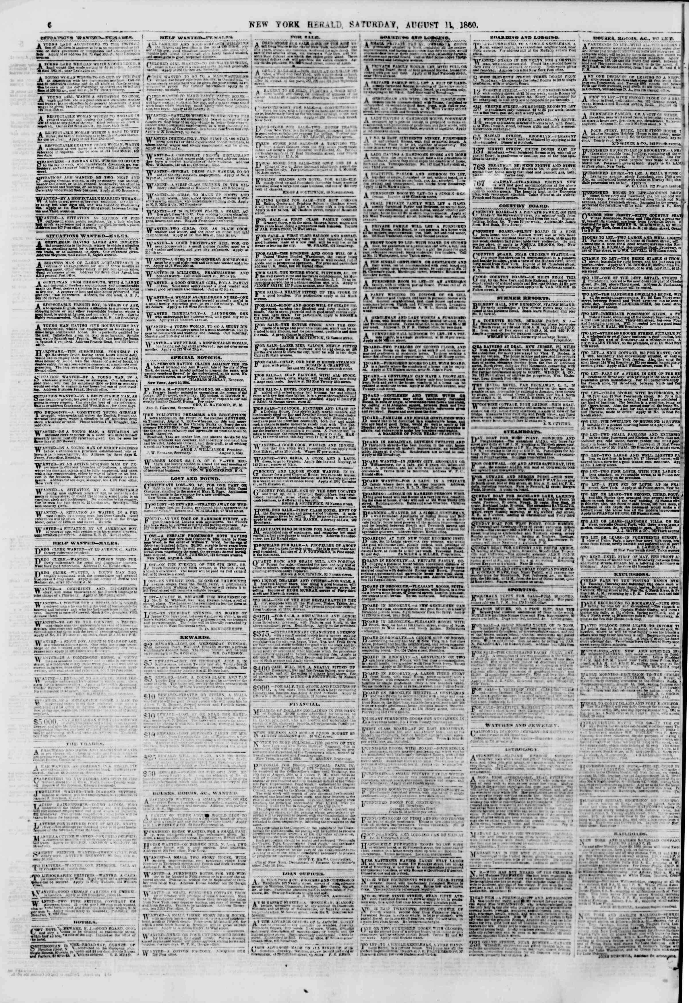 Newspaper of The New York Herald dated August 11, 1860 Page 6