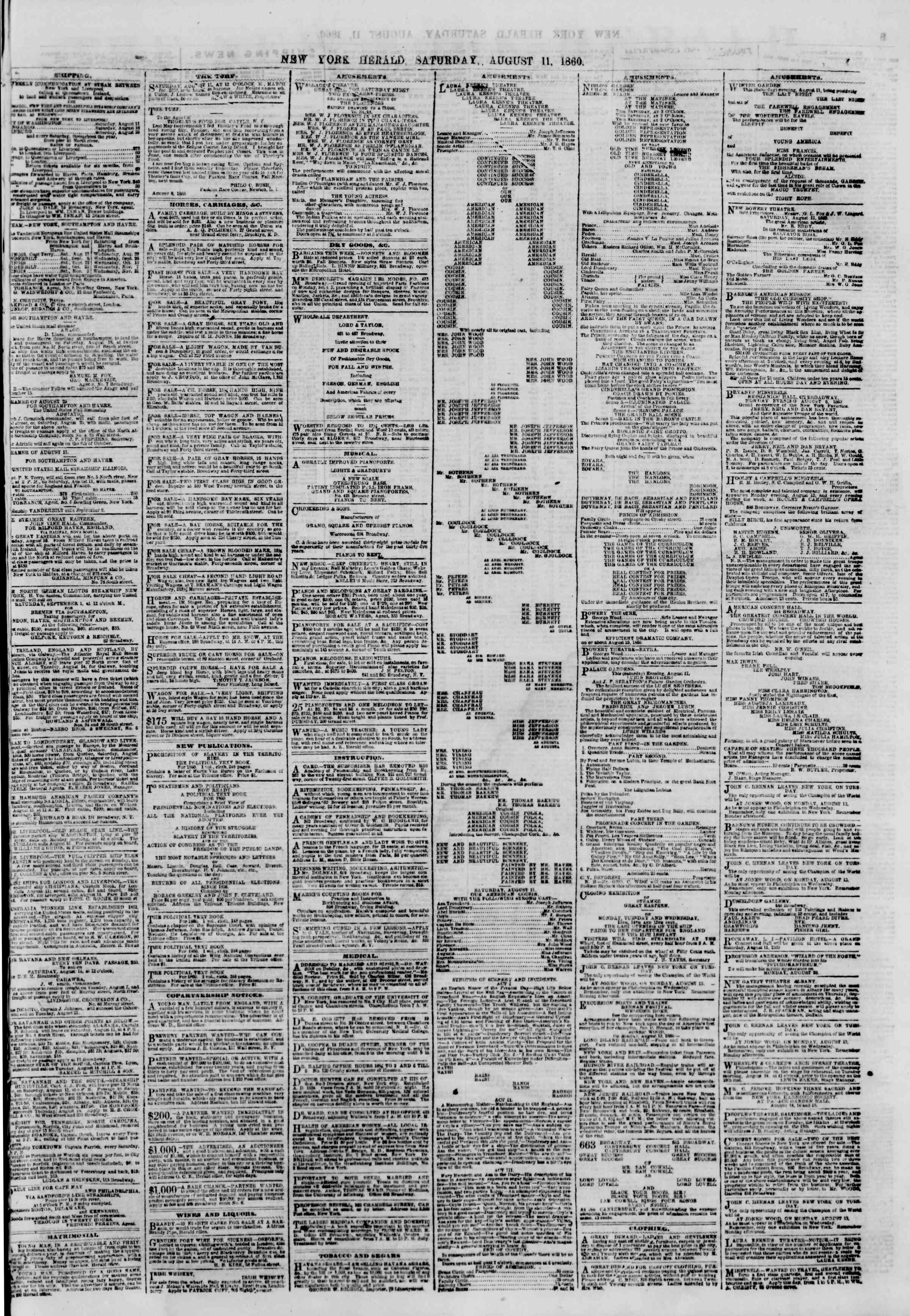 Newspaper of The New York Herald dated August 11, 1860 Page 7