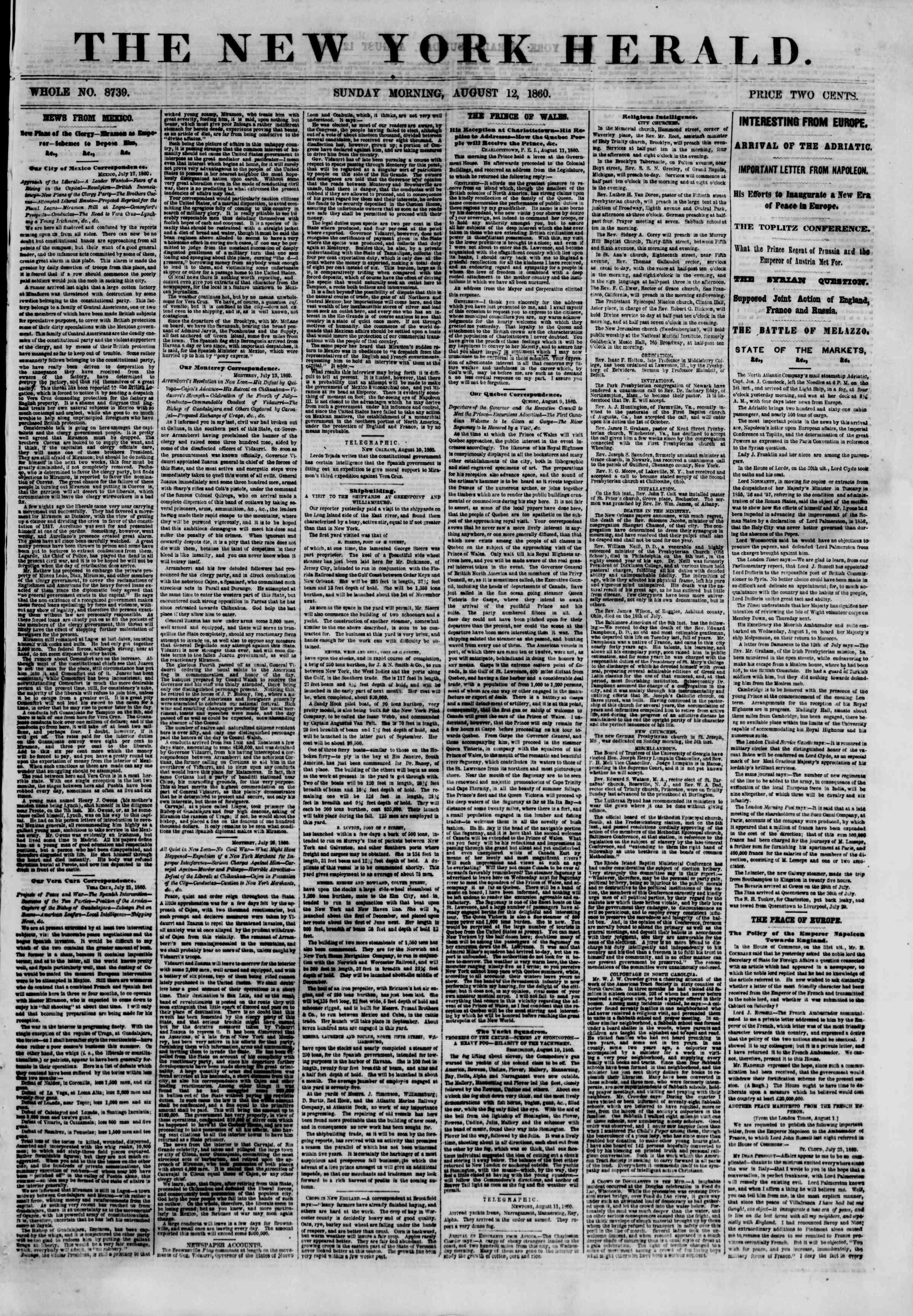 Newspaper of The New York Herald dated August 12, 1860 Page 1