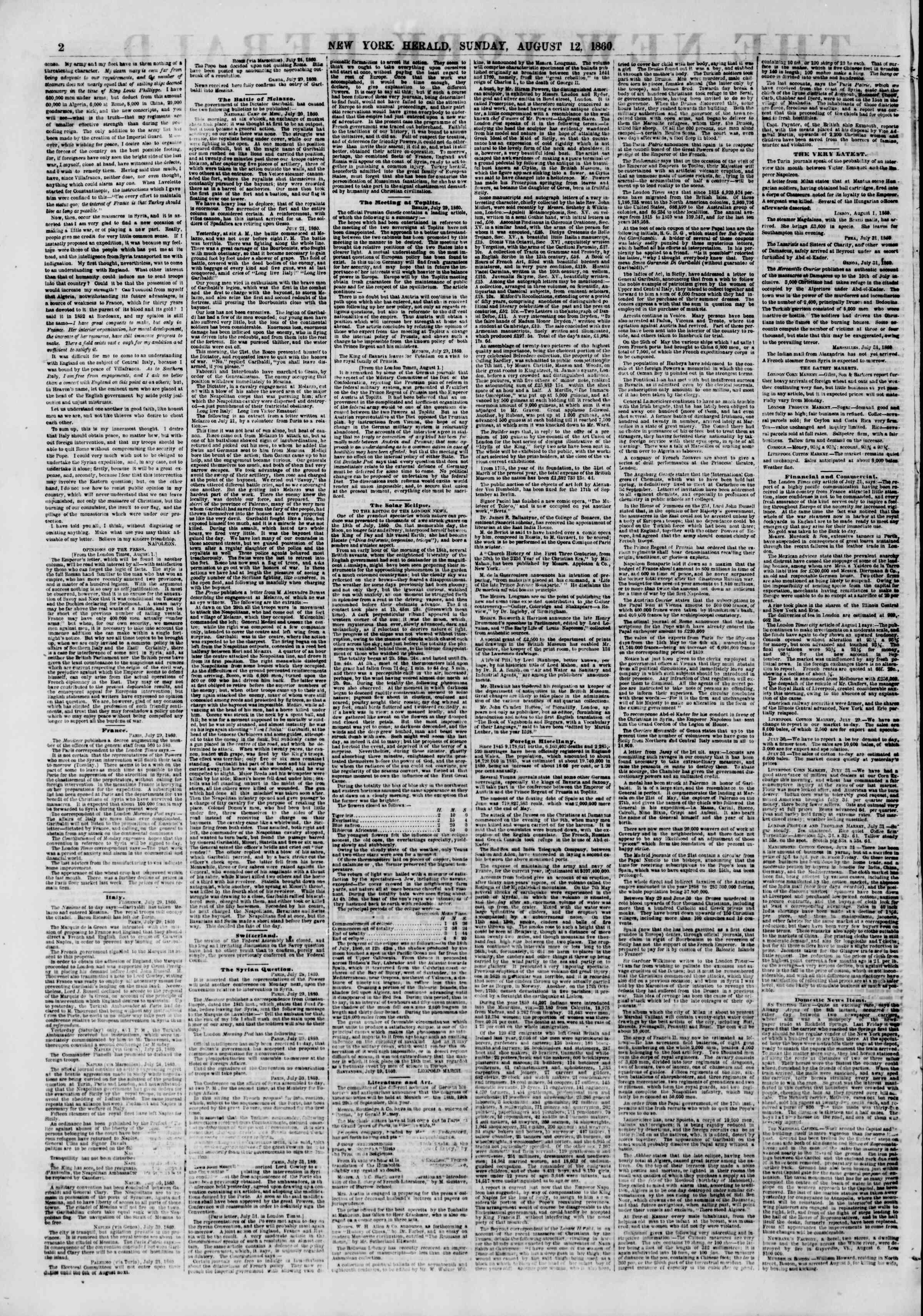 12 Ağustos 1860 tarihli The New York Herald Gazetesi Sayfa 2