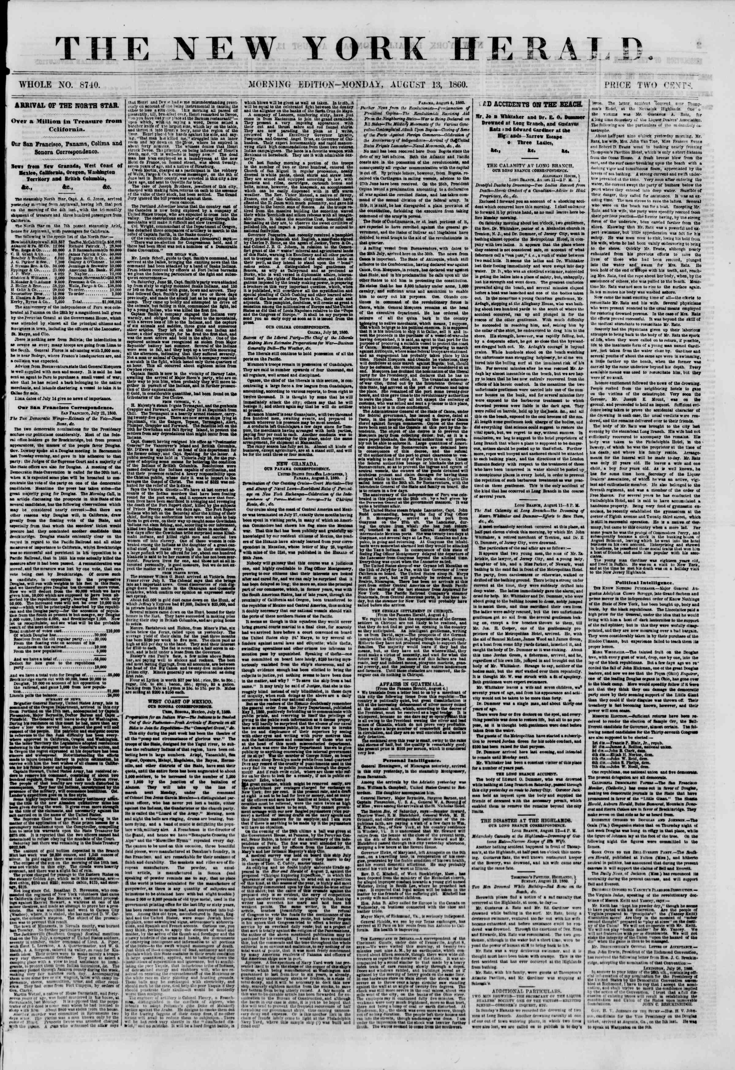 Newspaper of The New York Herald dated August 13, 1860 Page 1