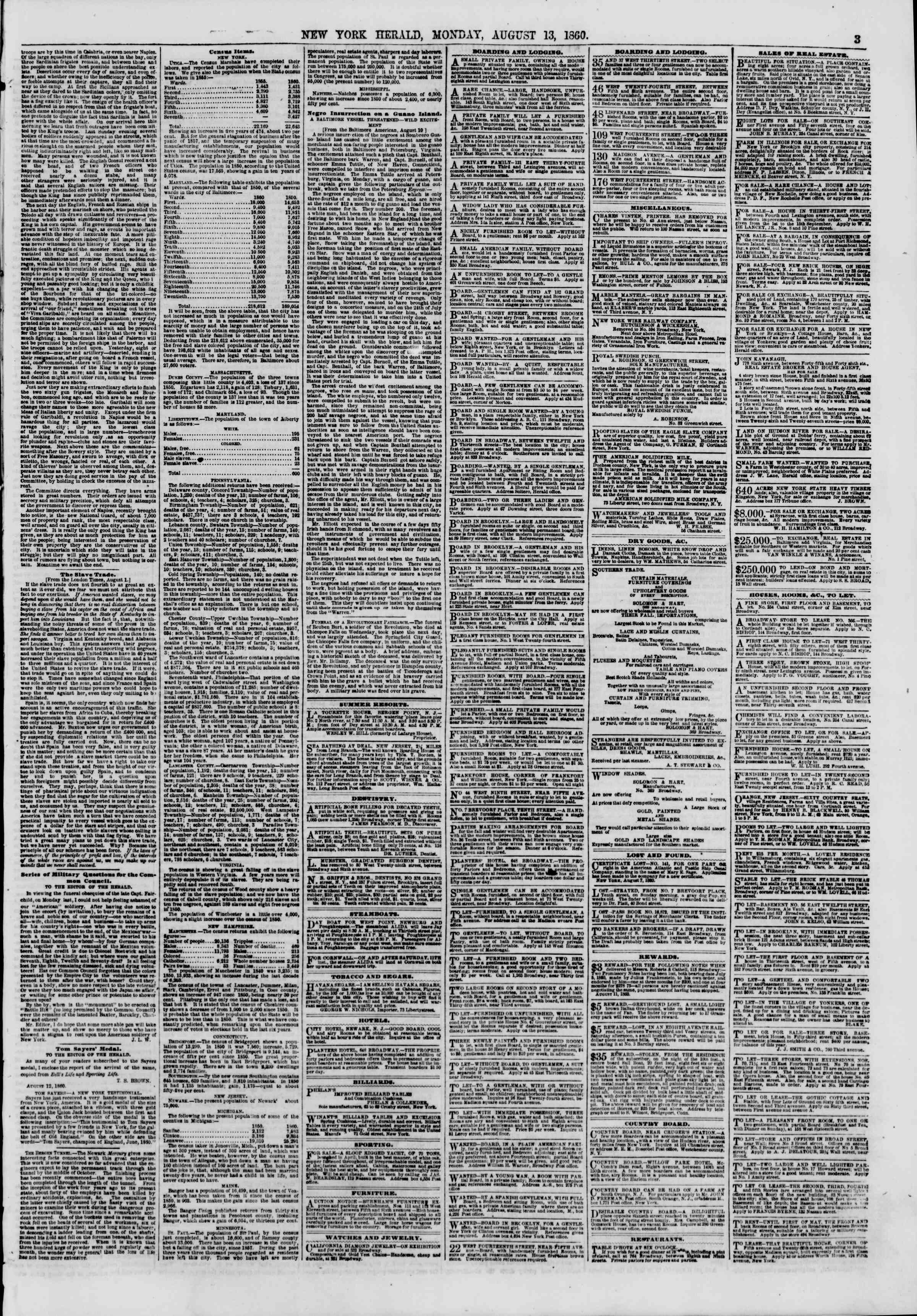 Newspaper of The New York Herald dated August 13, 1860 Page 3