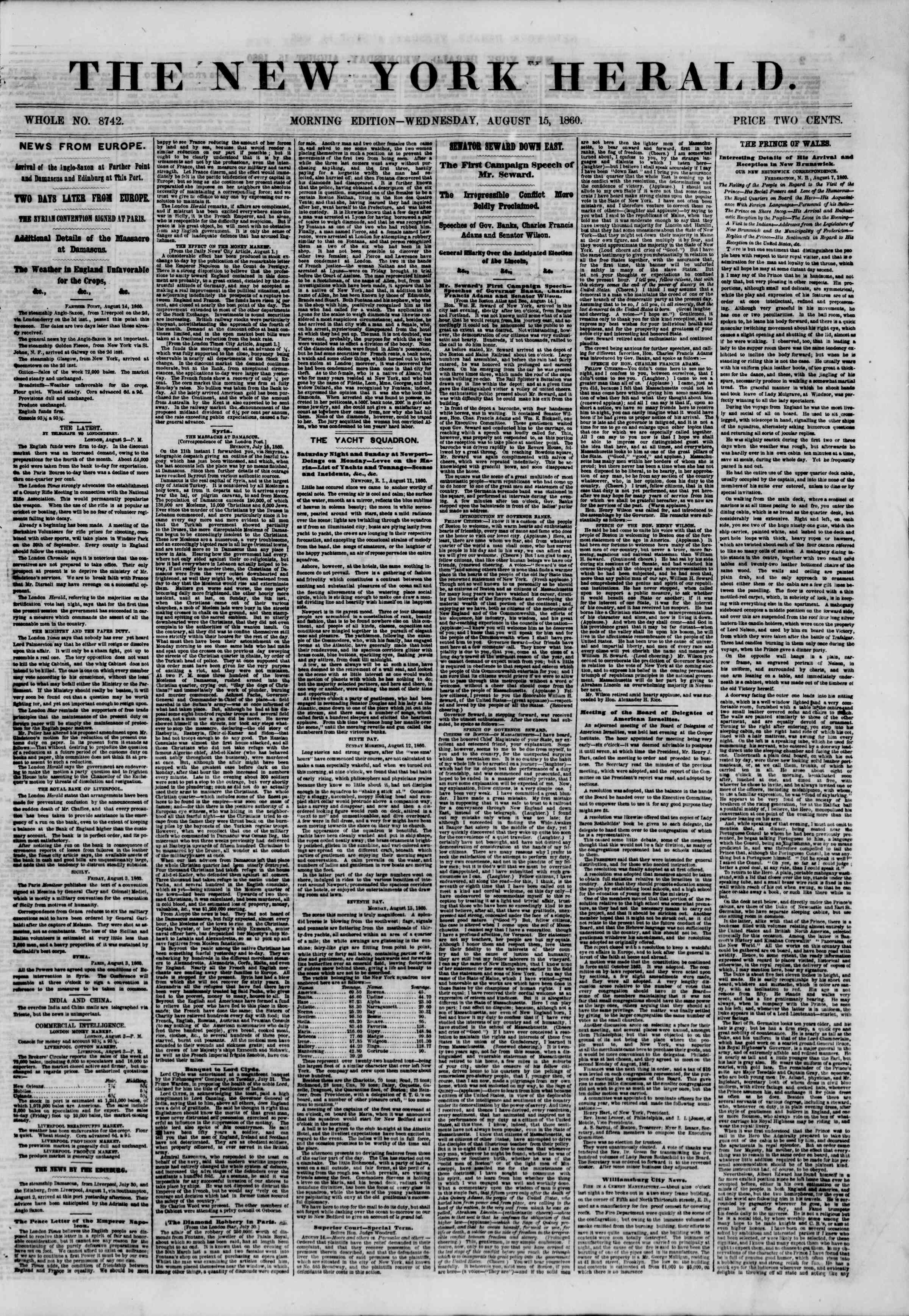 Newspaper of The New York Herald dated August 15, 1860 Page 1