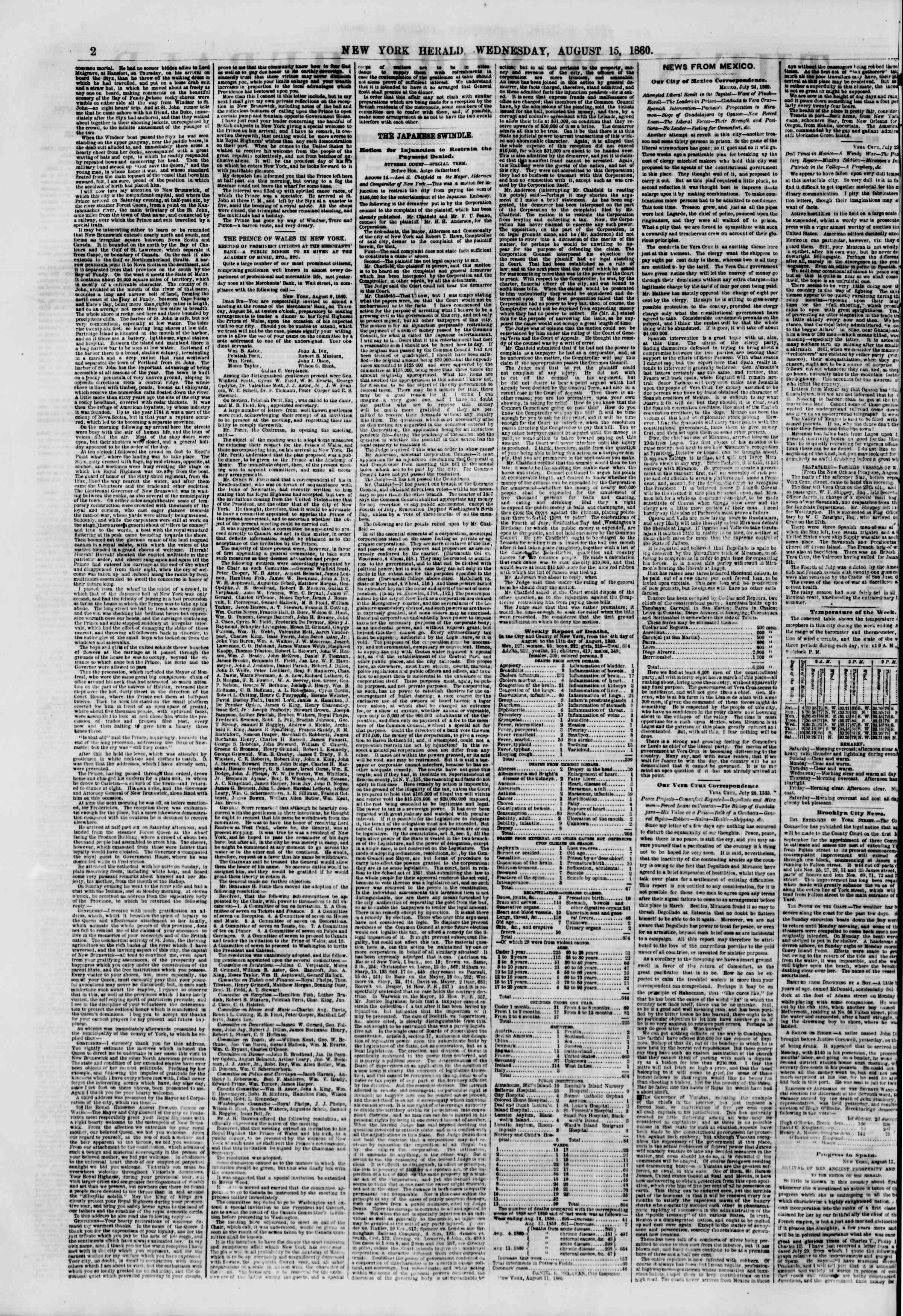 Newspaper of The New York Herald dated 15 Ağustos 1860 Page 2