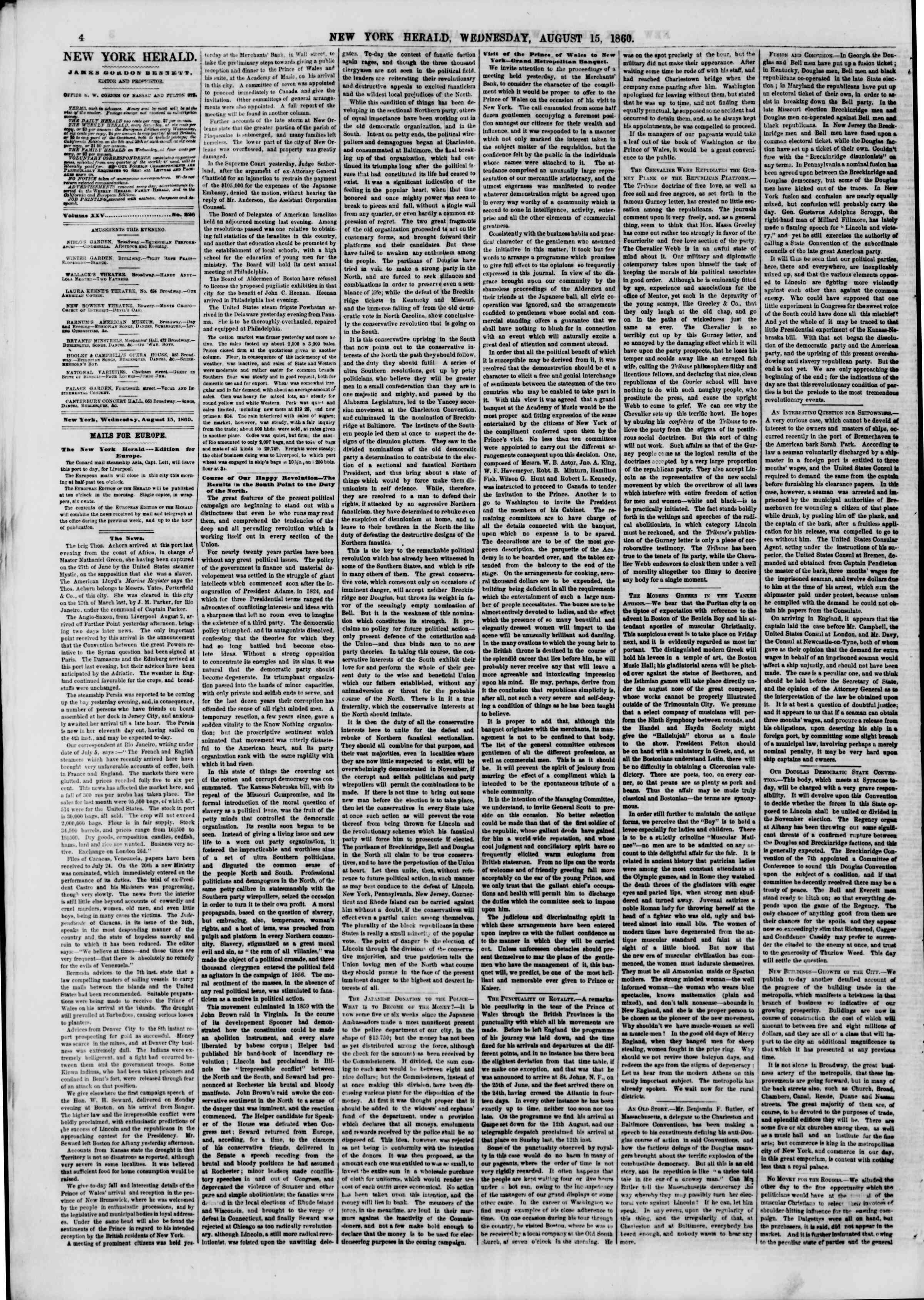 Newspaper of The New York Herald dated August 15, 1860 Page 4
