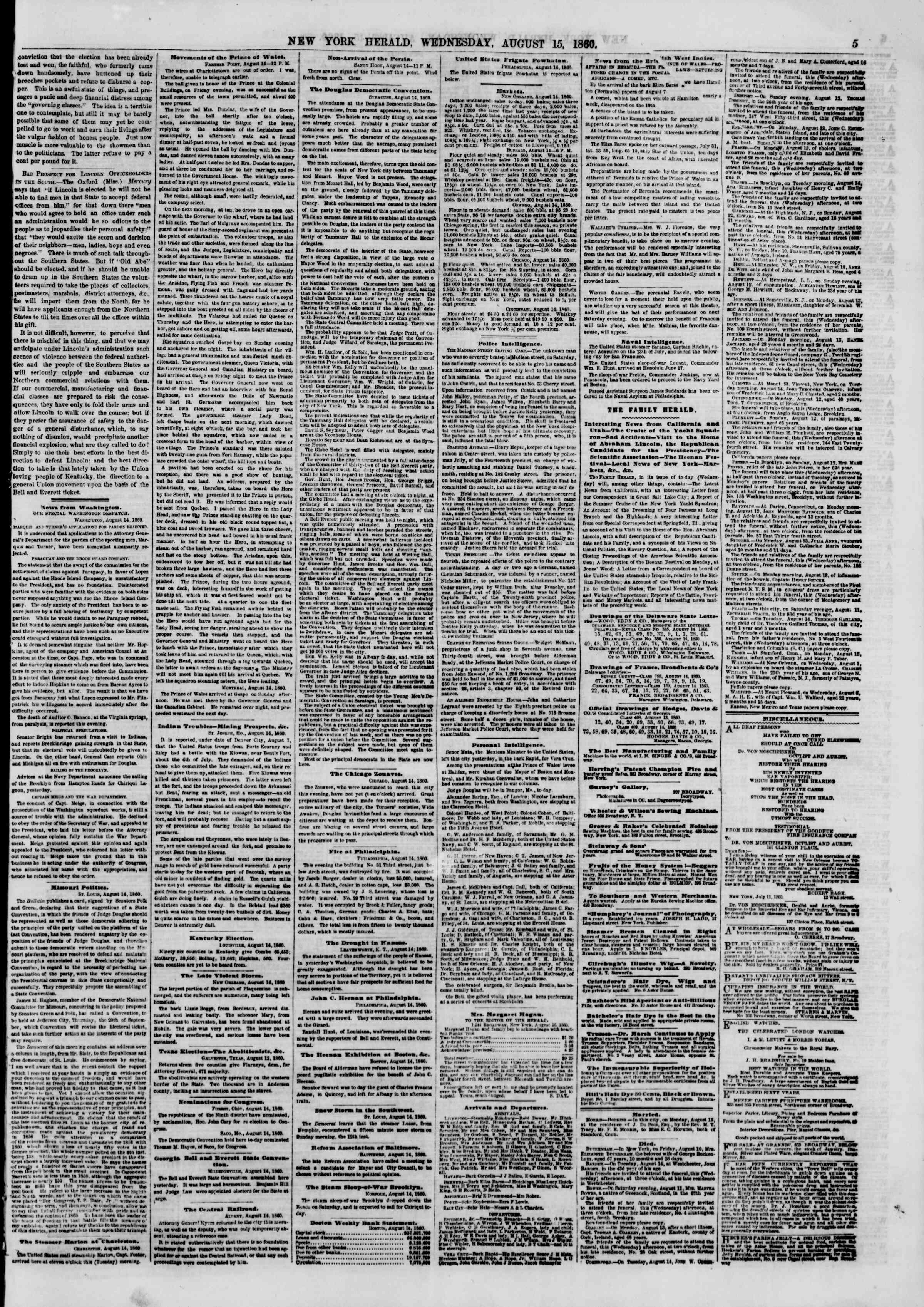 Newspaper of The New York Herald dated August 15, 1860 Page 5