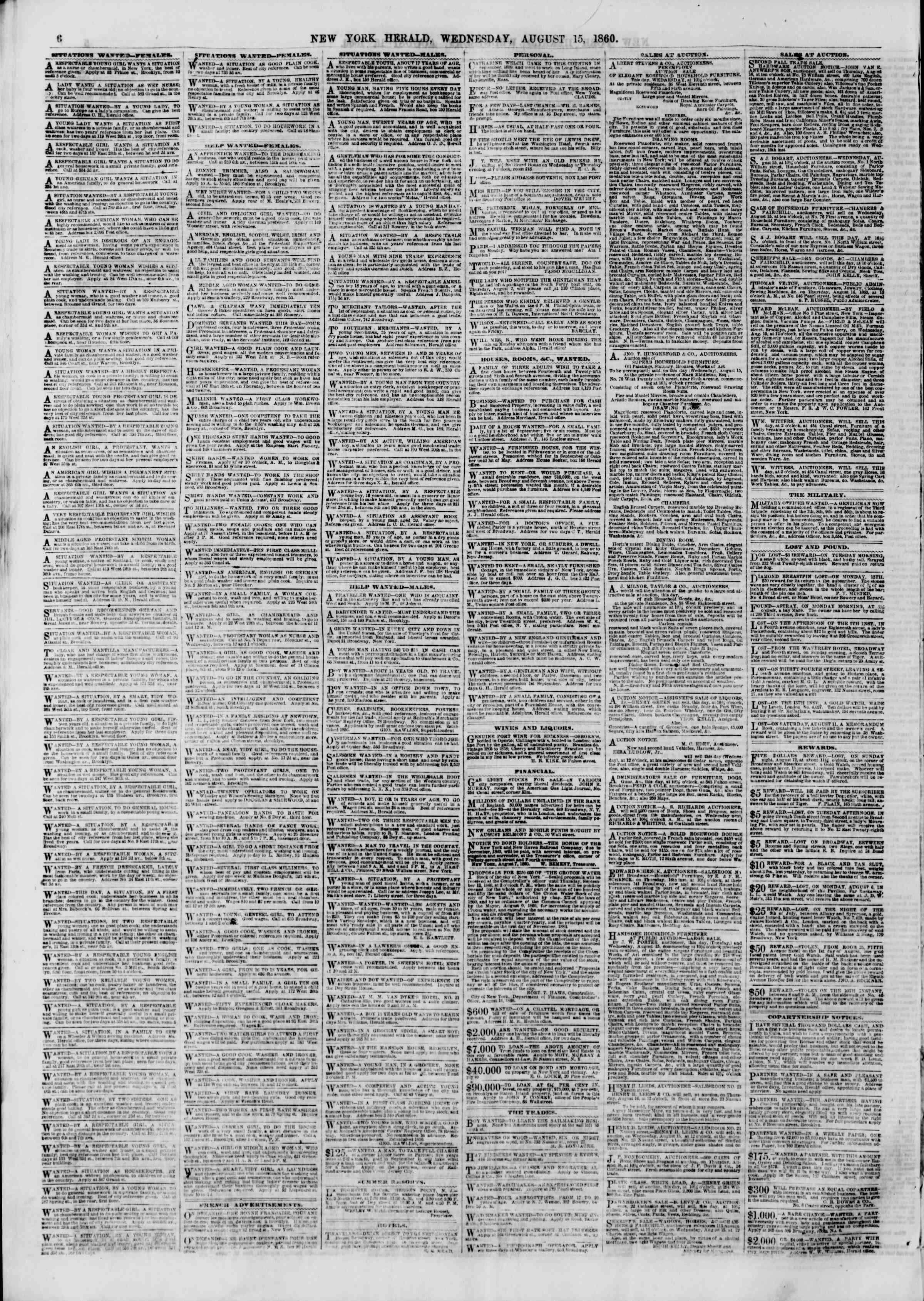 Newspaper of The New York Herald dated August 15, 1860 Page 6