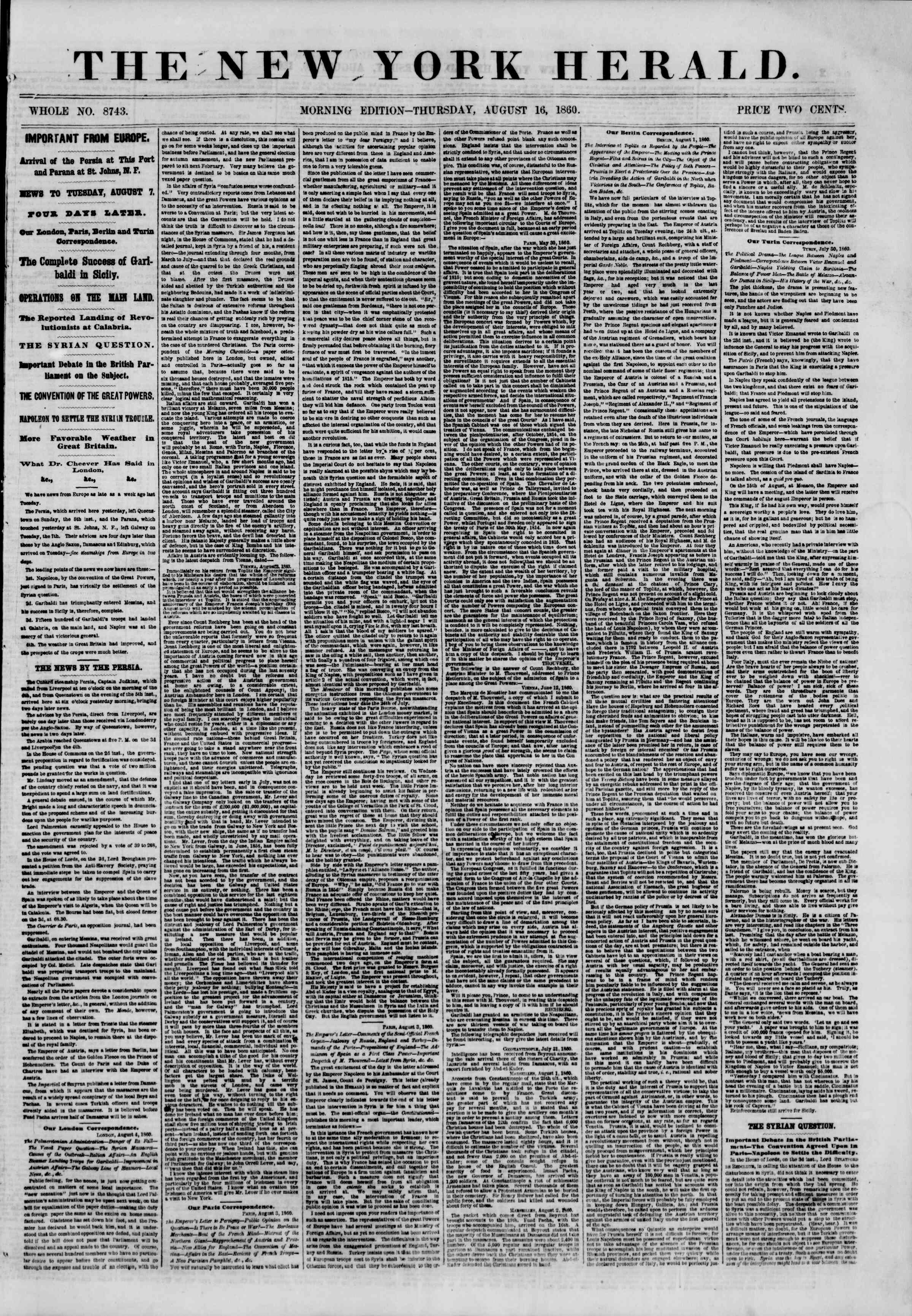 Newspaper of The New York Herald dated August 16, 1860 Page 1