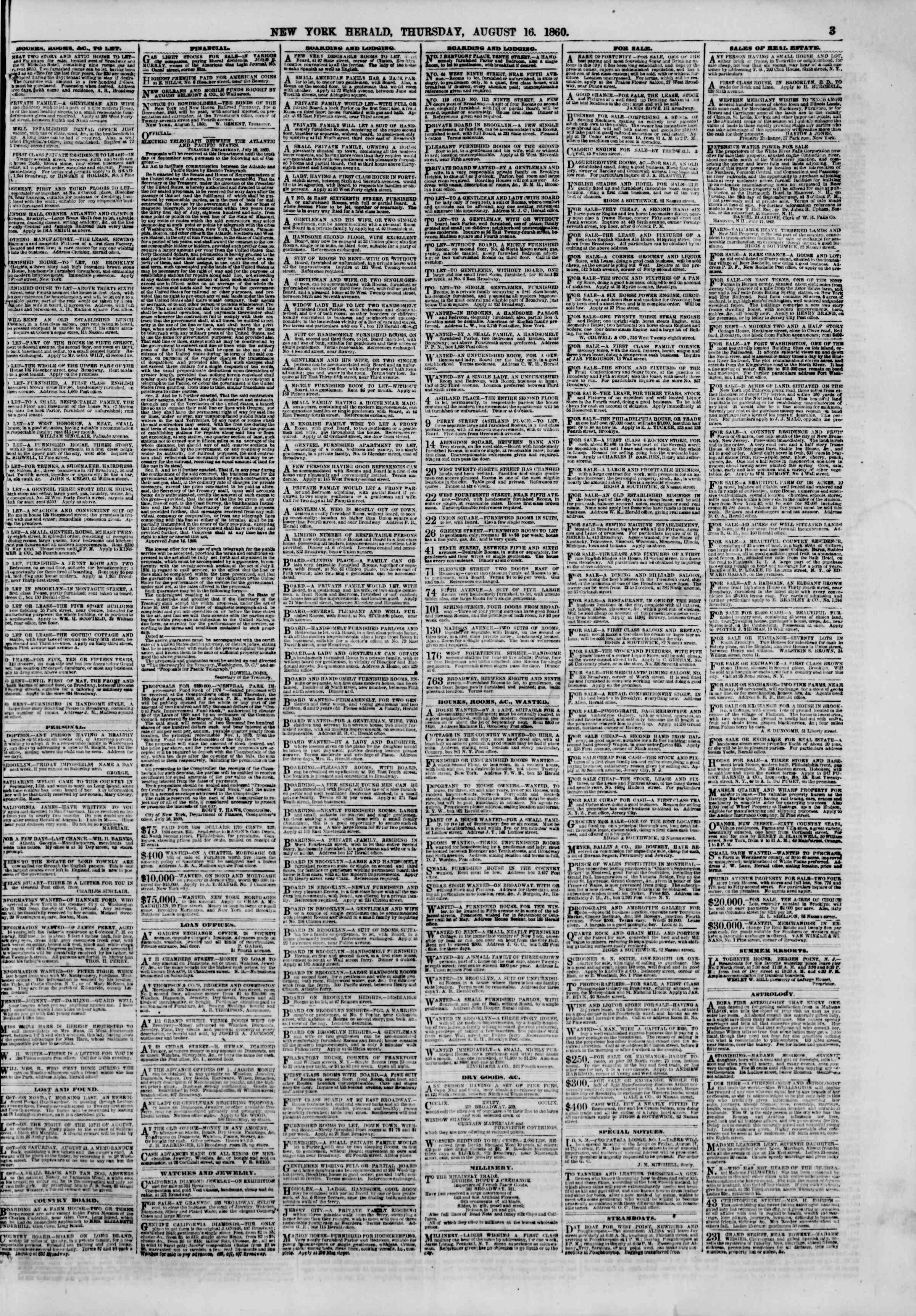 Newspaper of The New York Herald dated August 16, 1860 Page 3