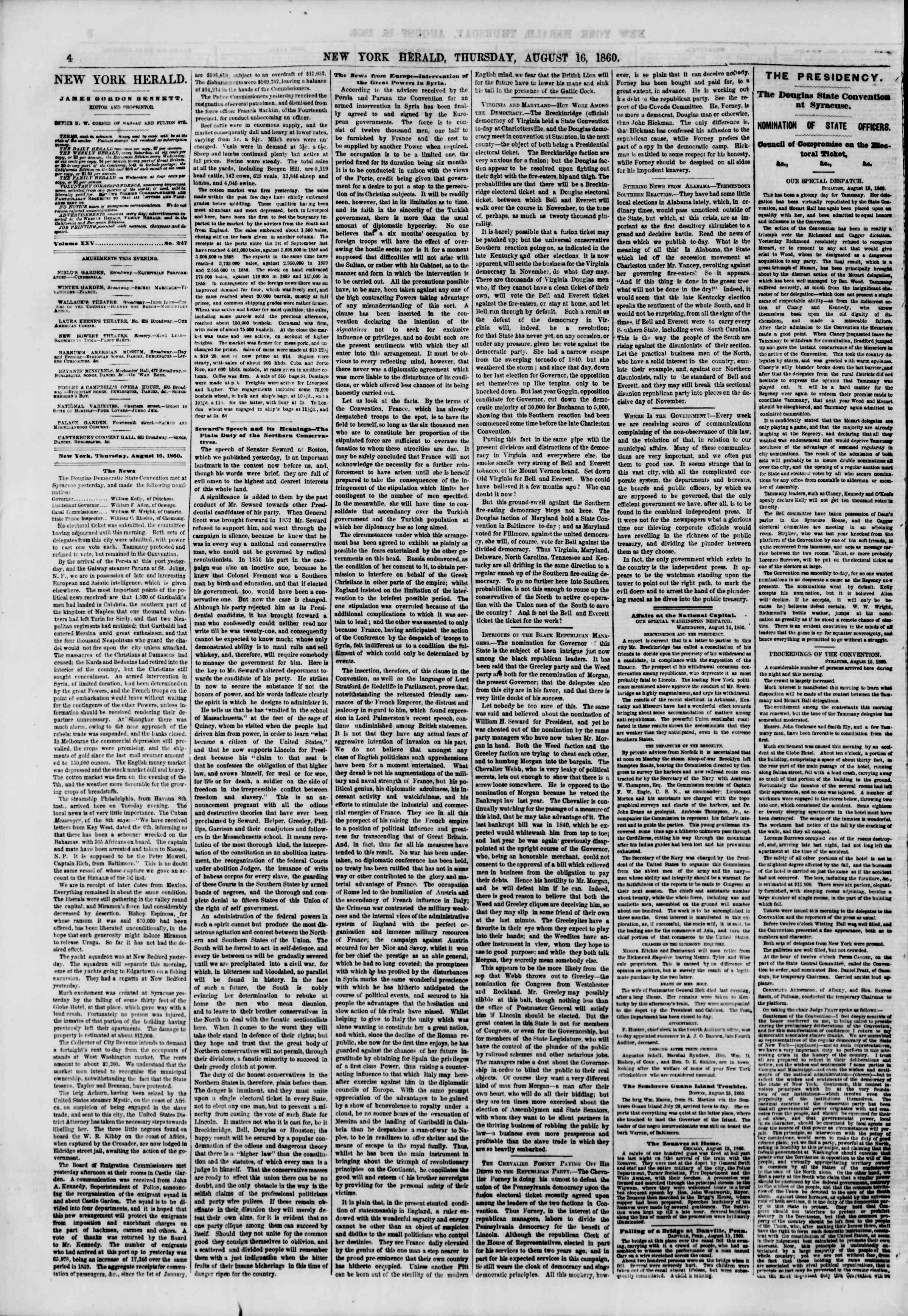 Newspaper of The New York Herald dated August 16, 1860 Page 4
