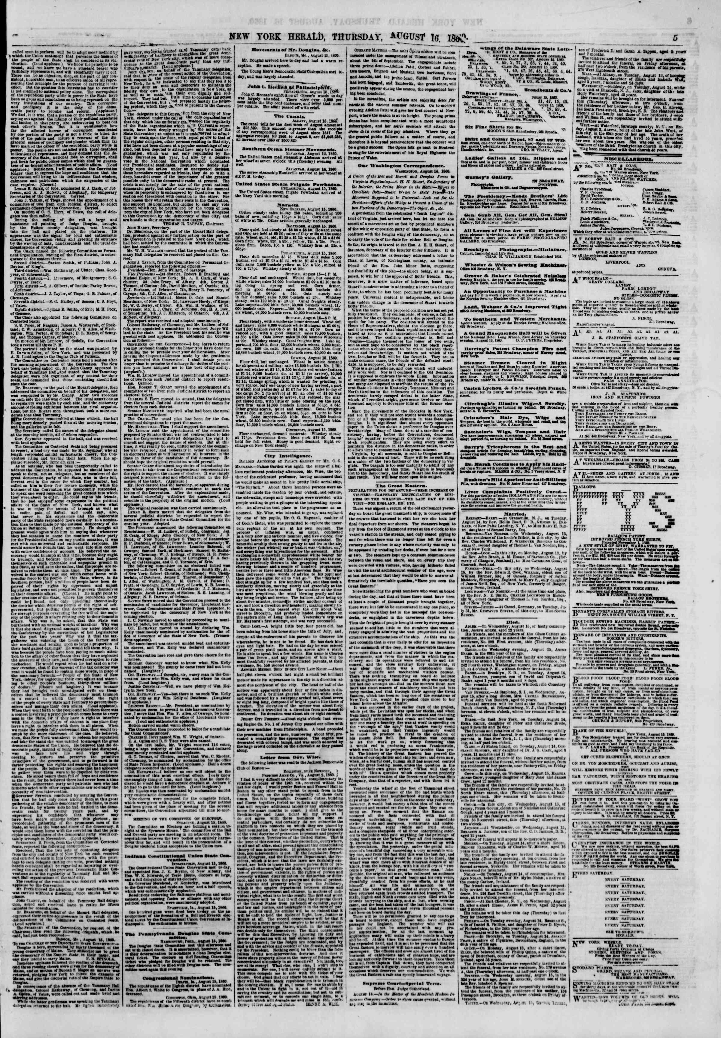 Newspaper of The New York Herald dated August 16, 1860 Page 5