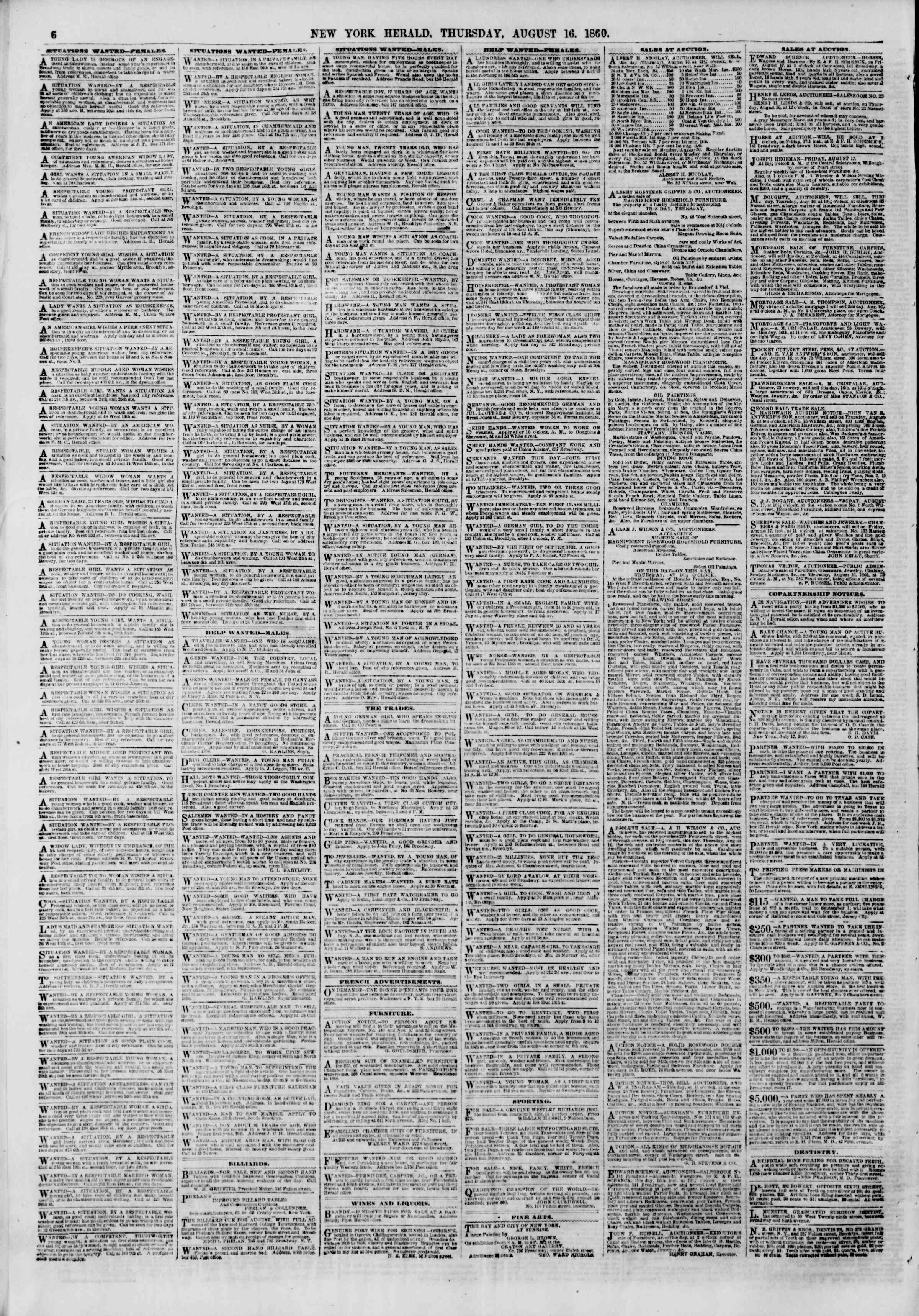 Newspaper of The New York Herald dated August 16, 1860 Page 6