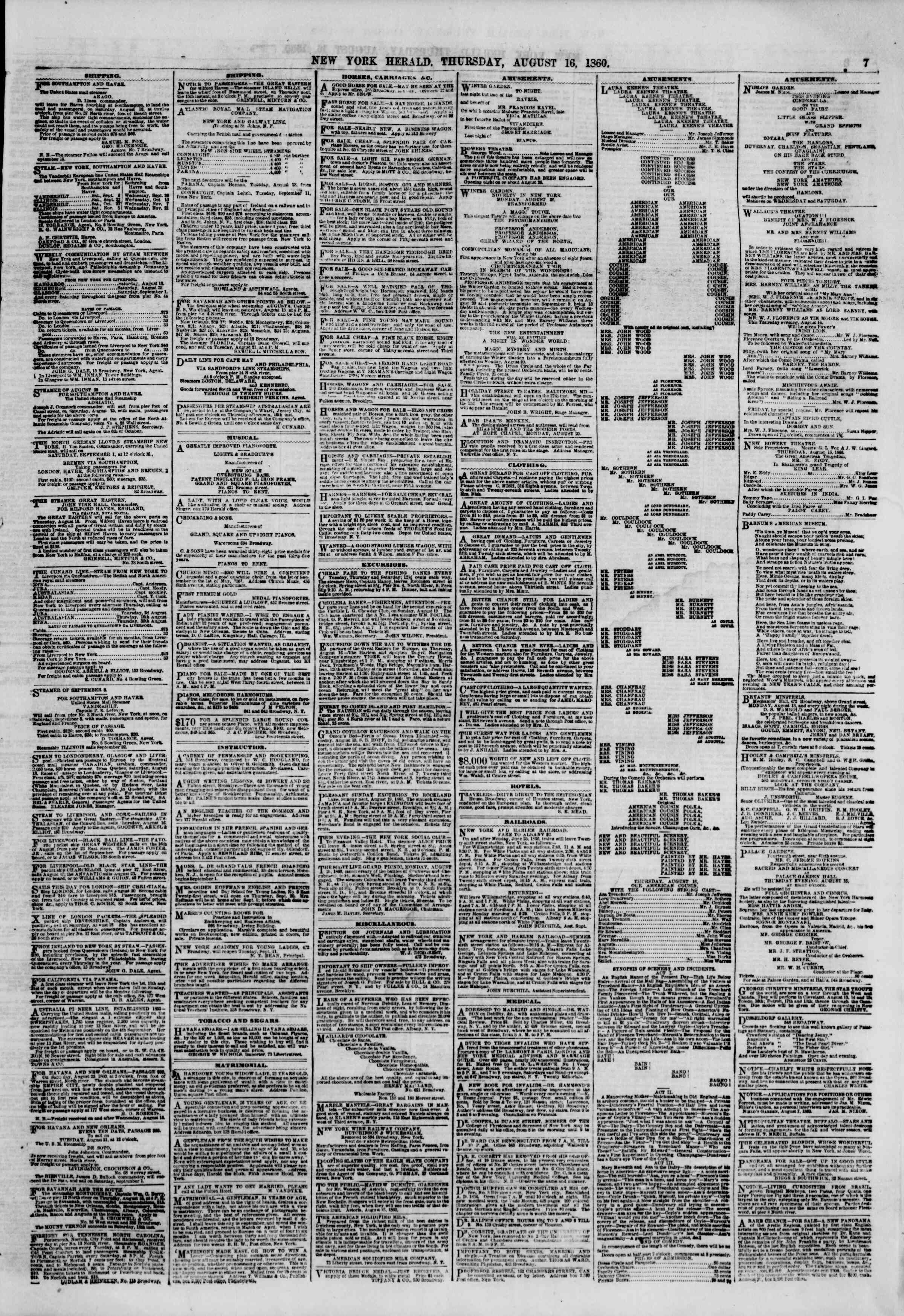 Newspaper of The New York Herald dated August 16, 1860 Page 7