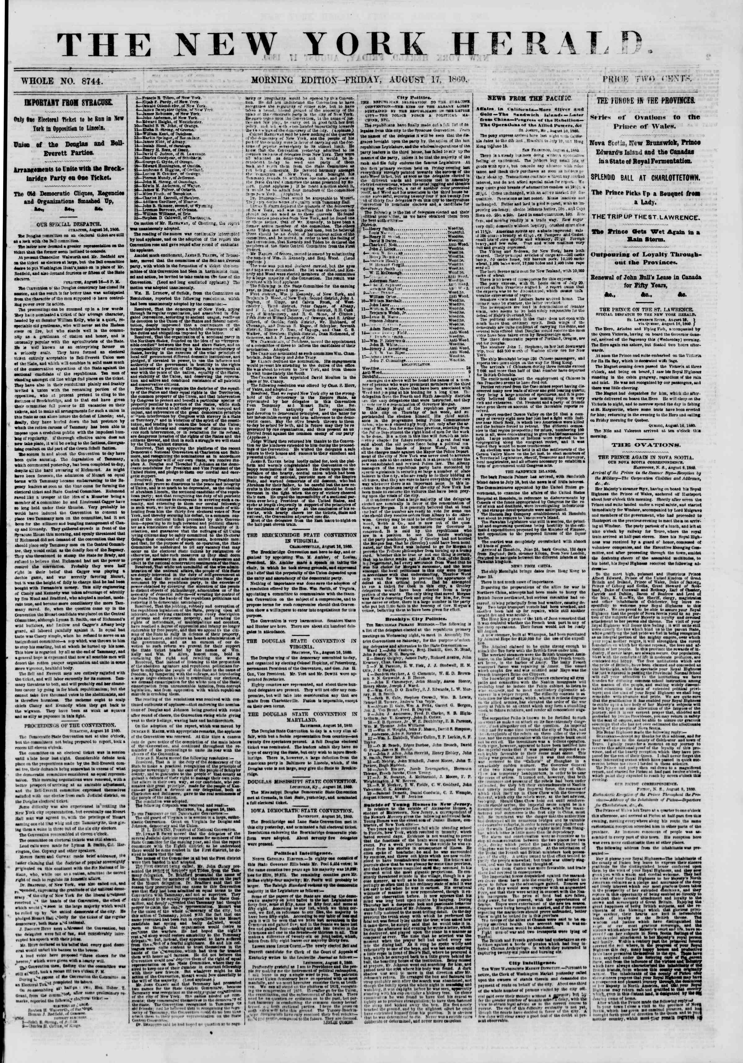 Newspaper of The New York Herald dated August 17, 1860 Page 1