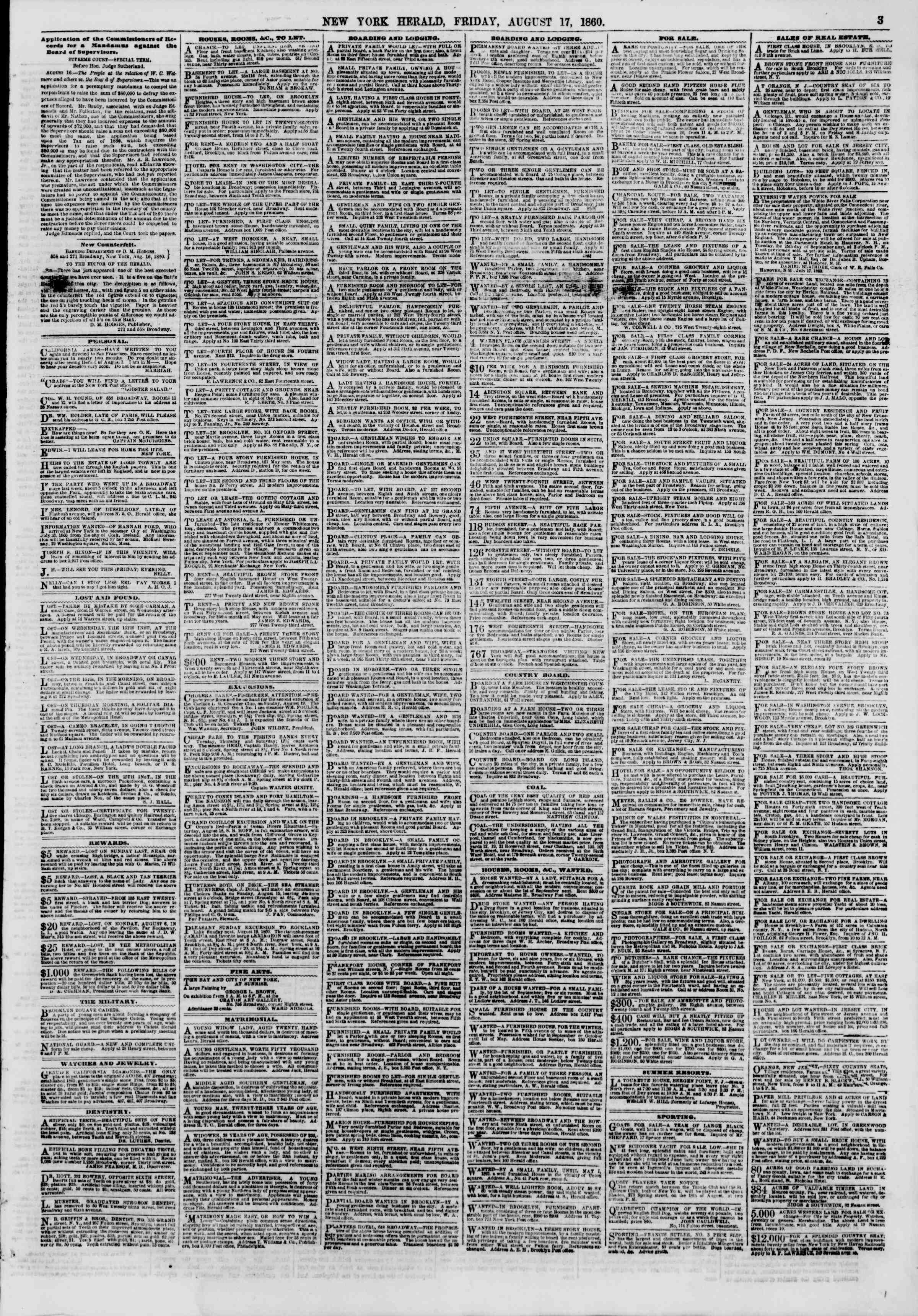 Newspaper of The New York Herald dated August 17, 1860 Page 3