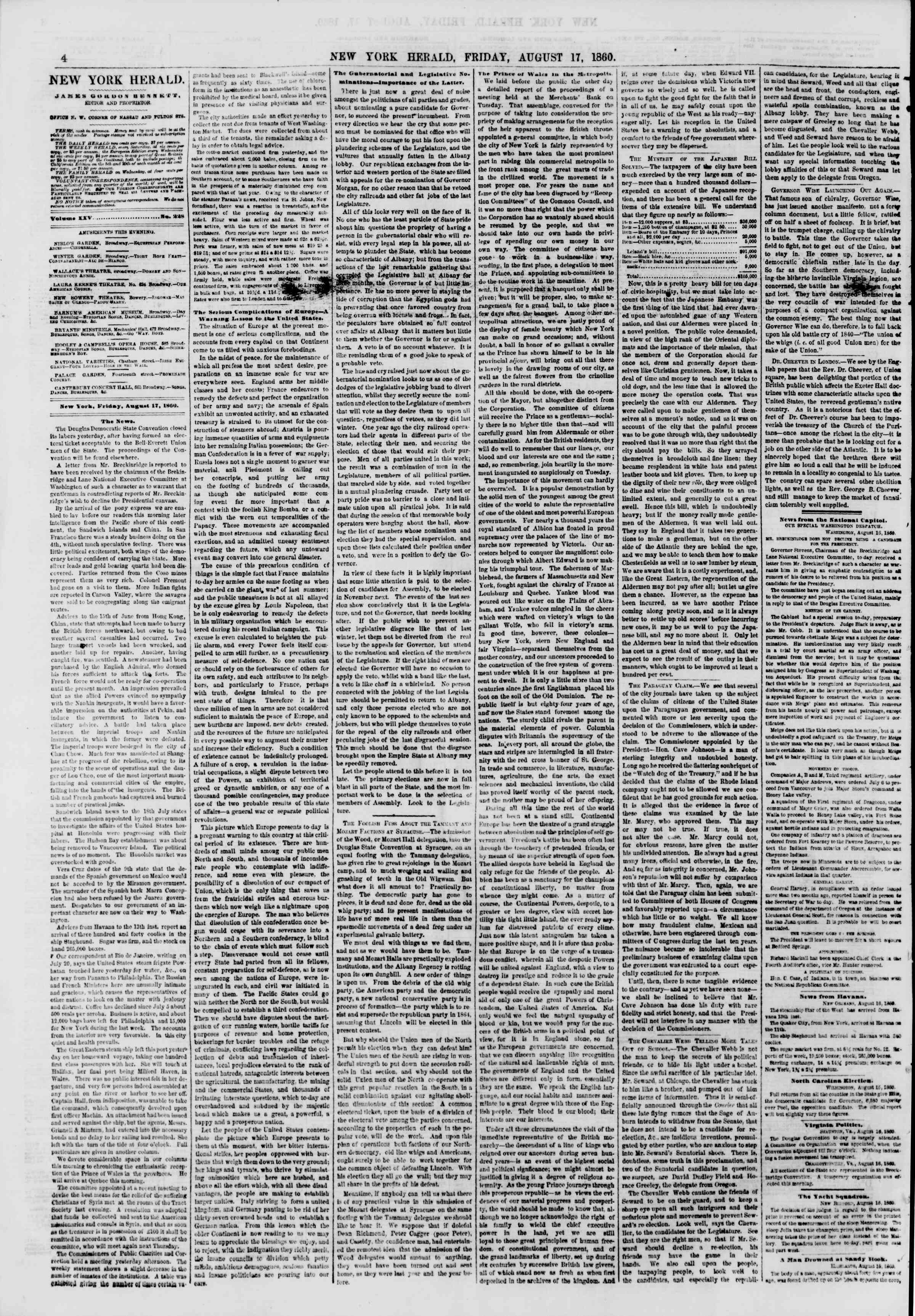 Newspaper of The New York Herald dated August 17, 1860 Page 4