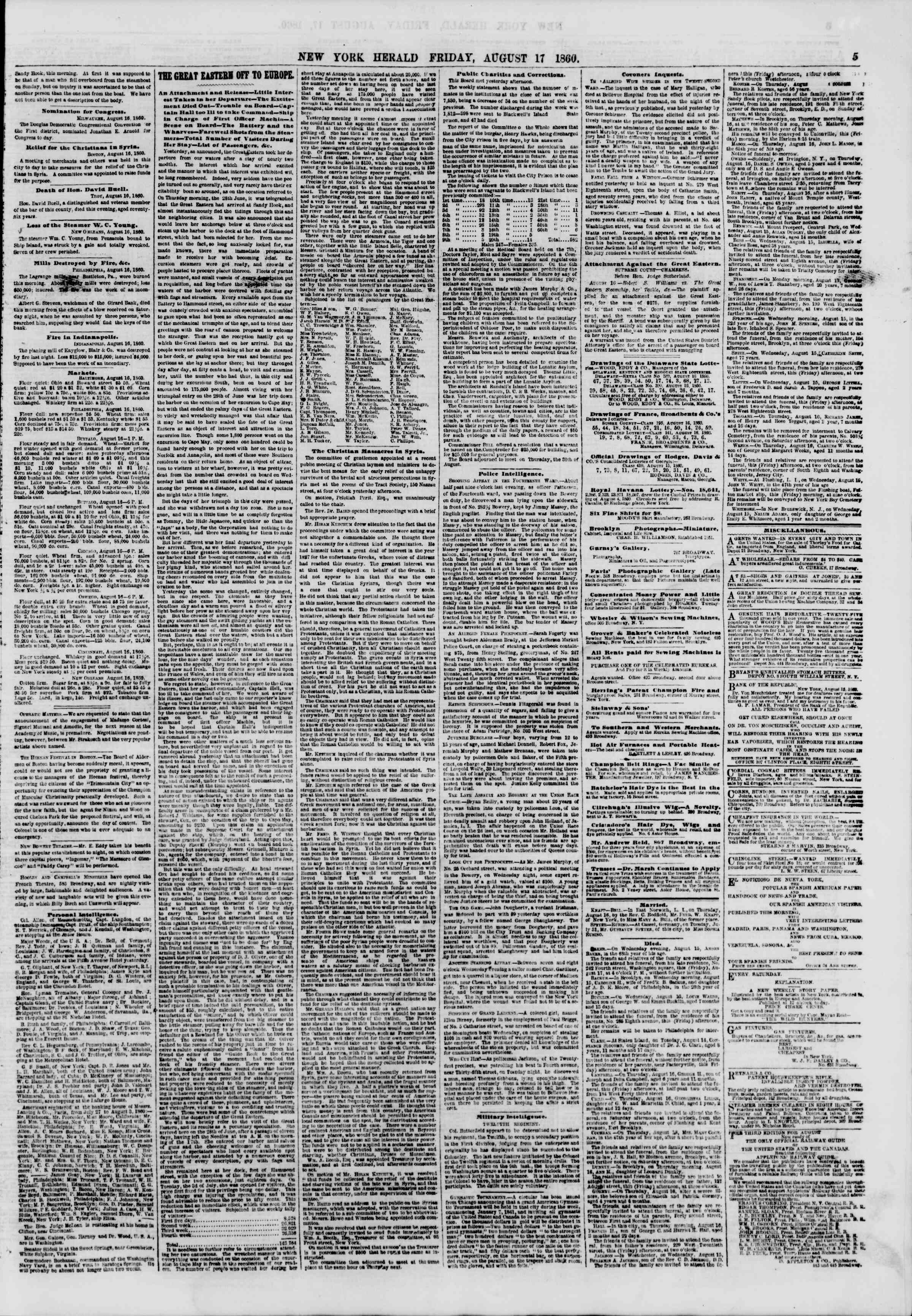 Newspaper of The New York Herald dated August 17, 1860 Page 5