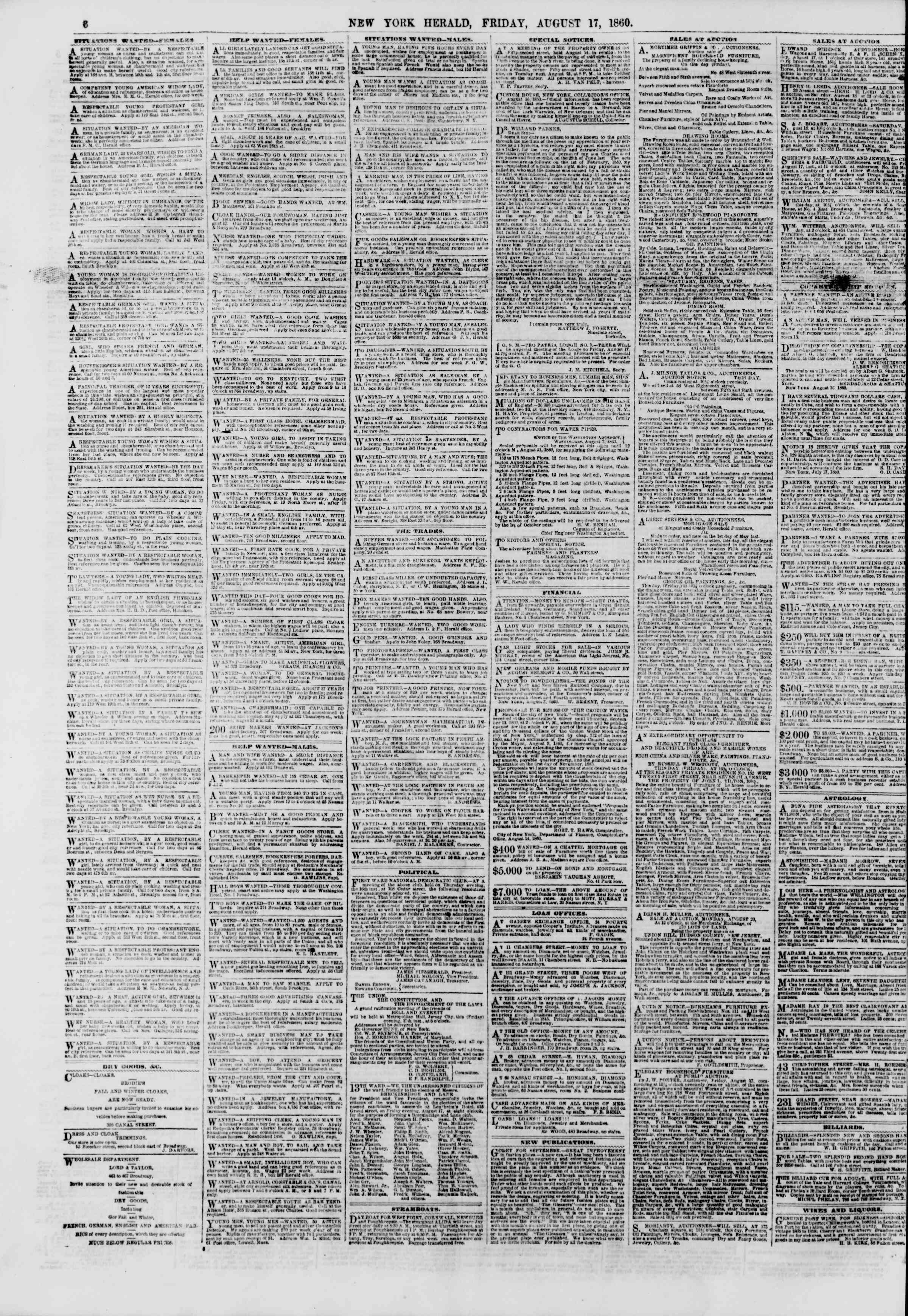 Newspaper of The New York Herald dated August 17, 1860 Page 6
