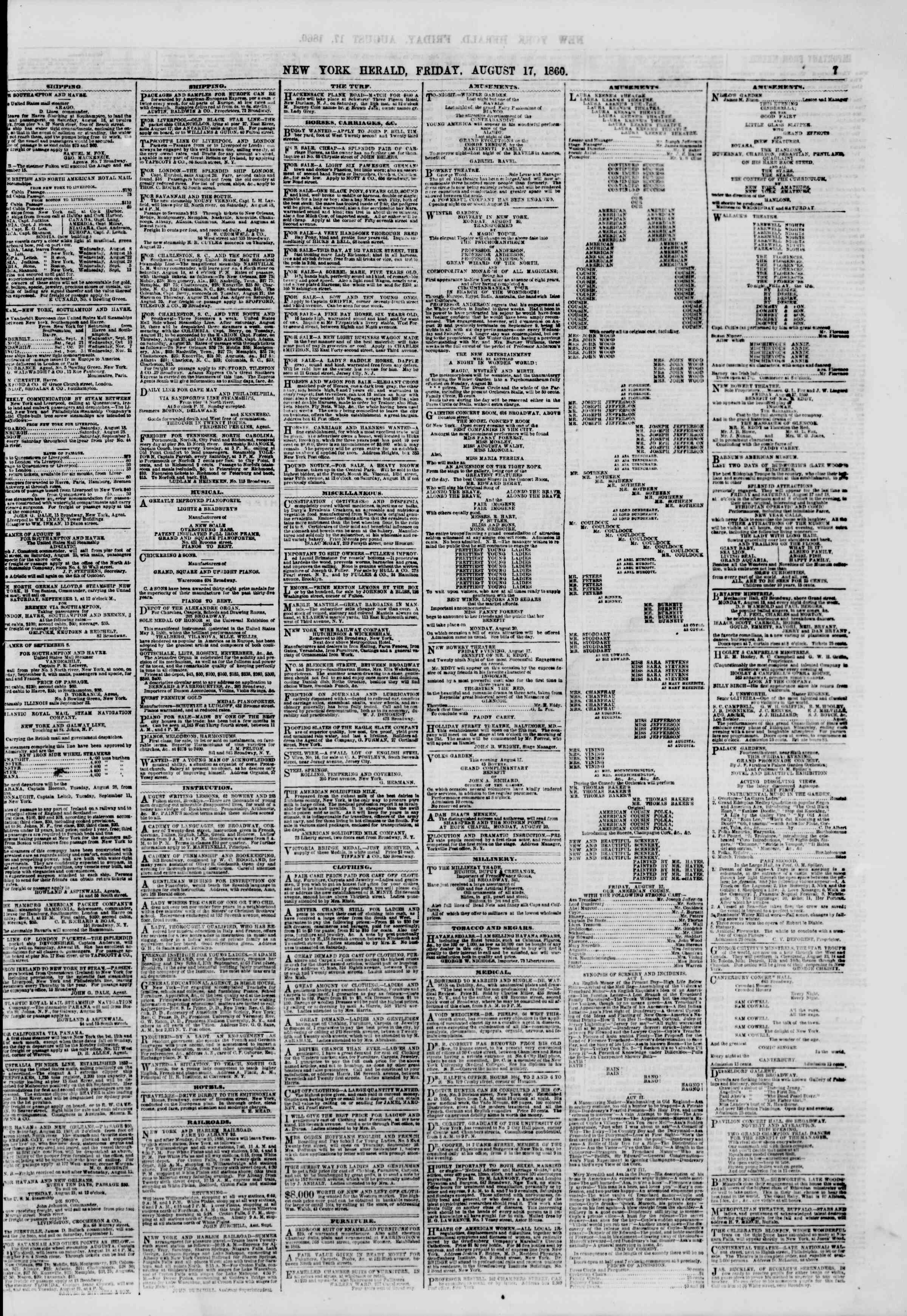 Newspaper of The New York Herald dated August 17, 1860 Page 7