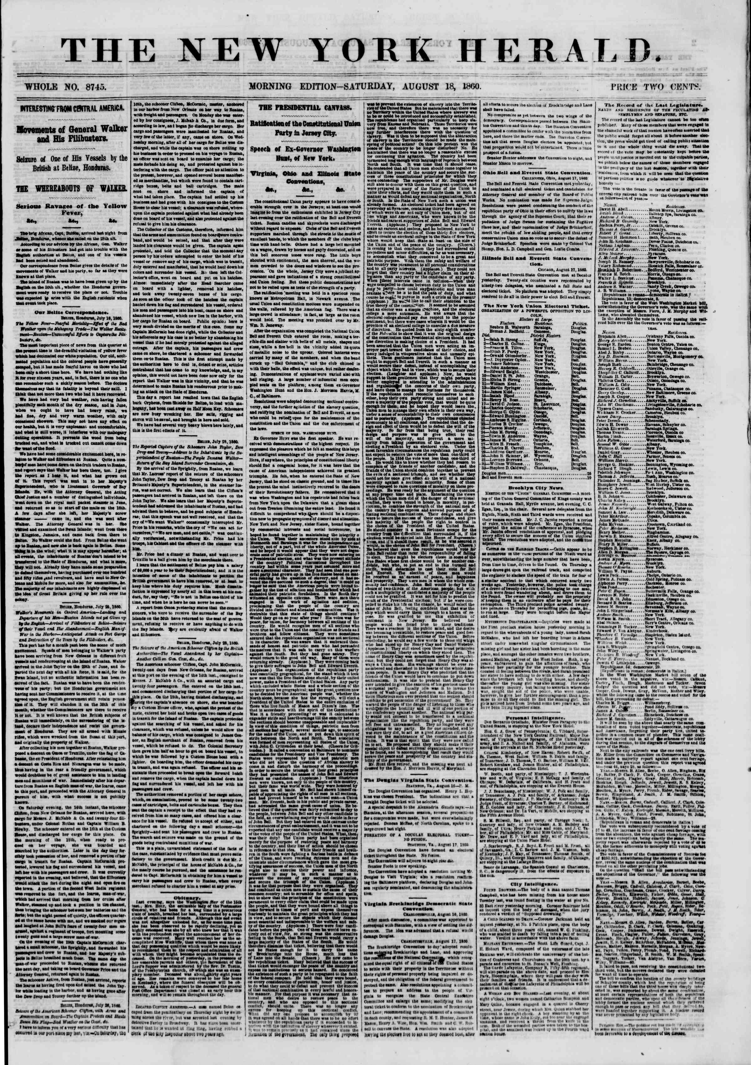 Newspaper of The New York Herald dated August 18, 1860 Page 1
