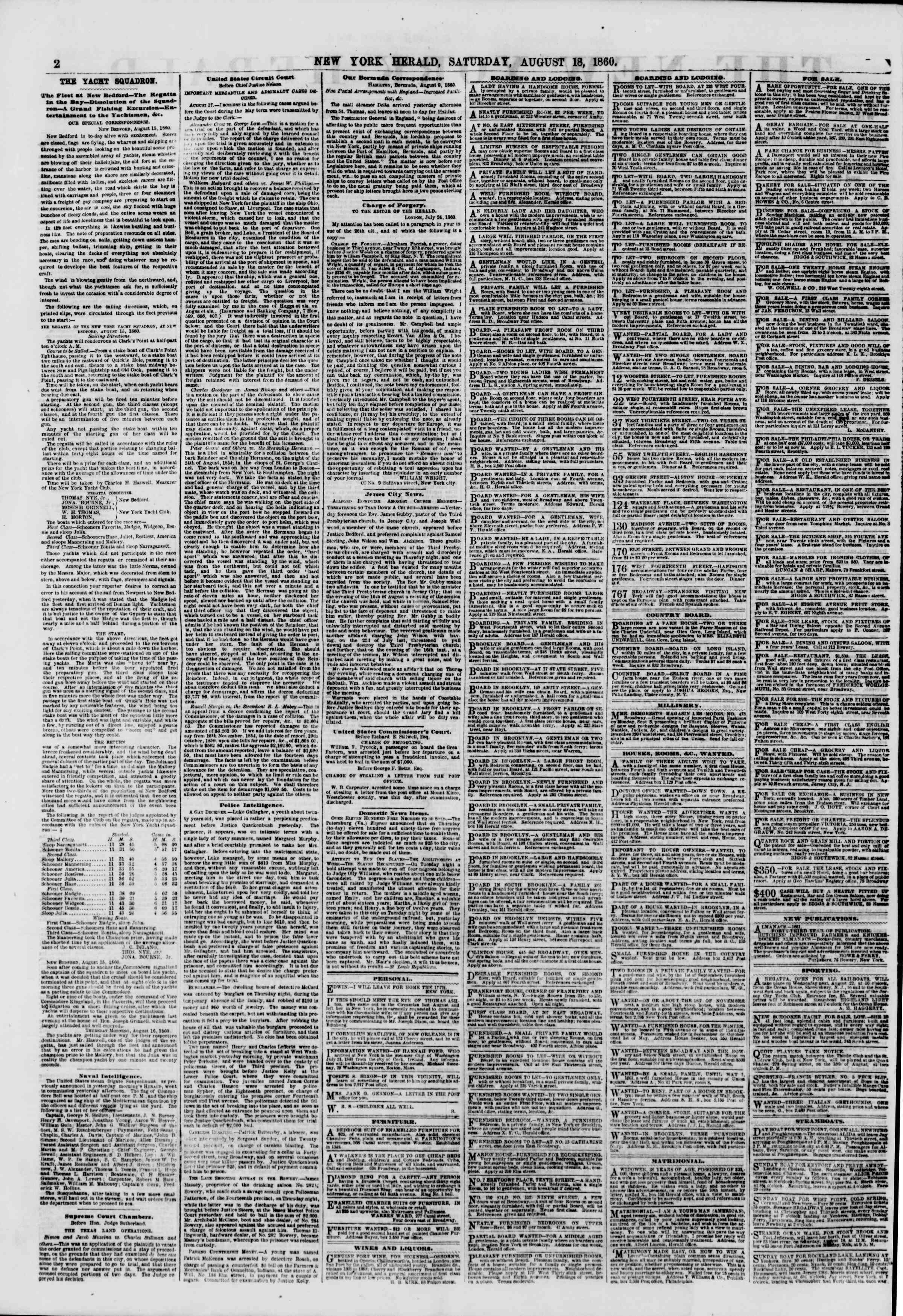 Newspaper of The New York Herald dated August 18, 1860 Page 2