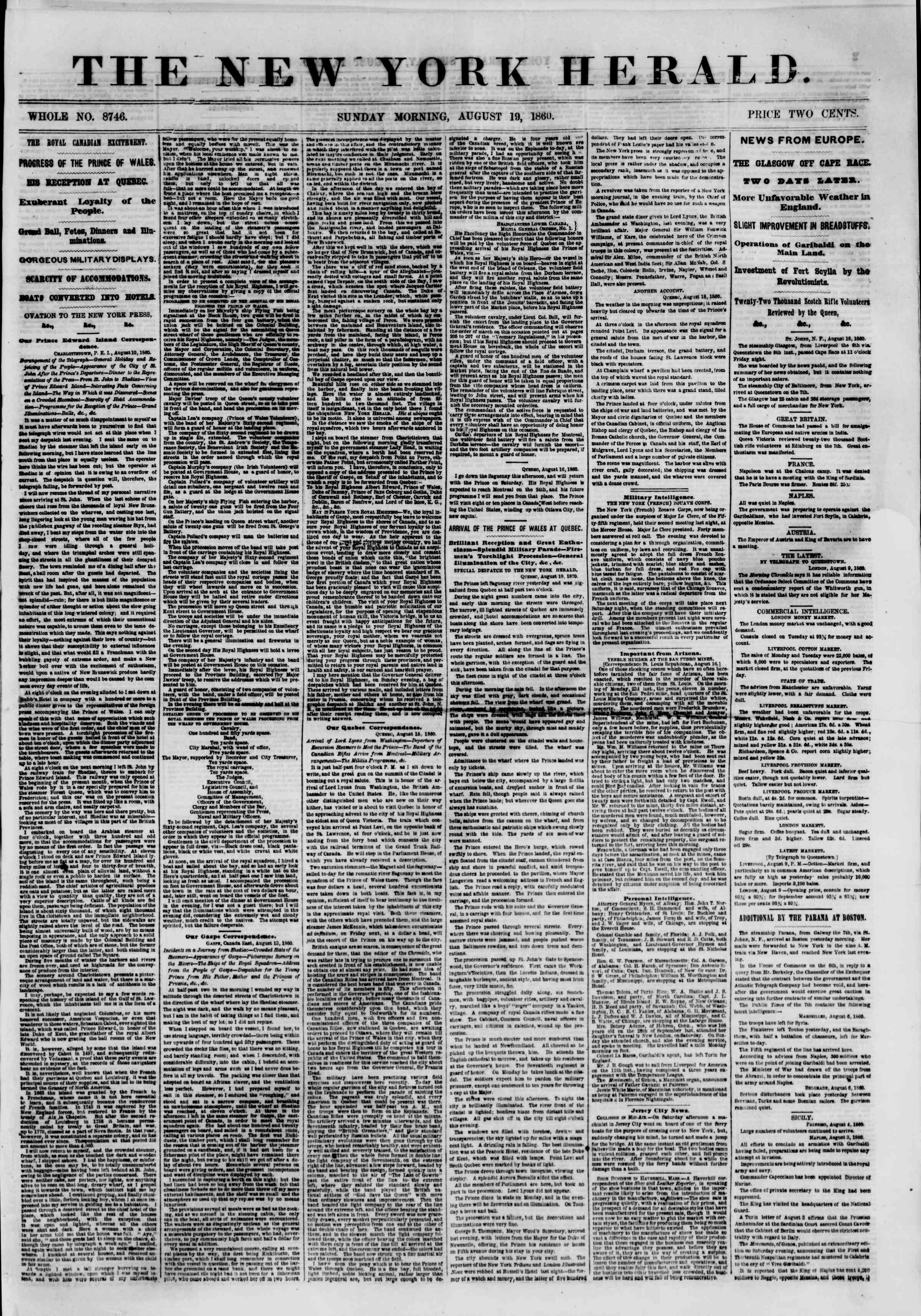 Newspaper of The New York Herald dated August 19, 1860 Page 1