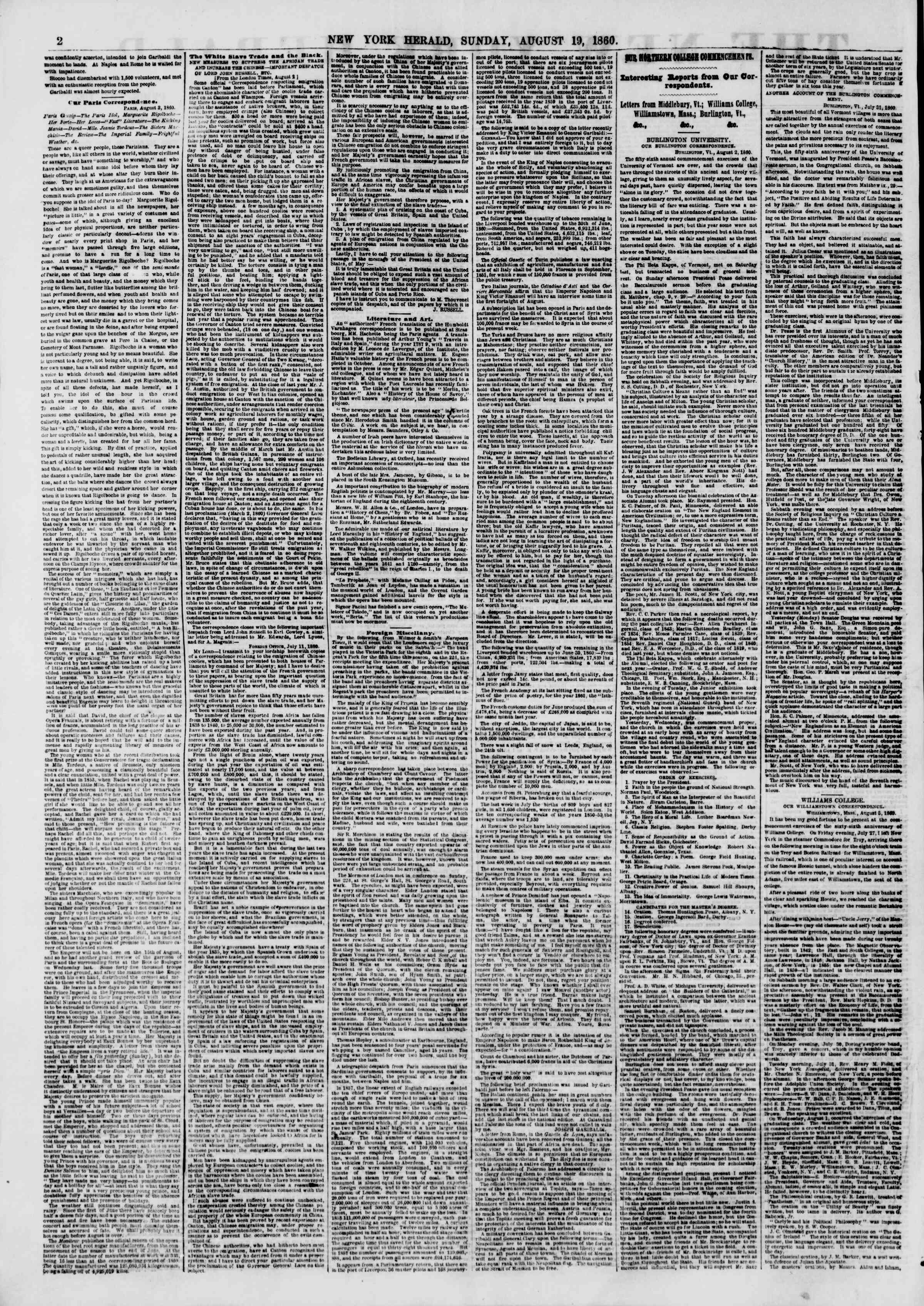 Newspaper of The New York Herald dated August 19, 1860 Page 2