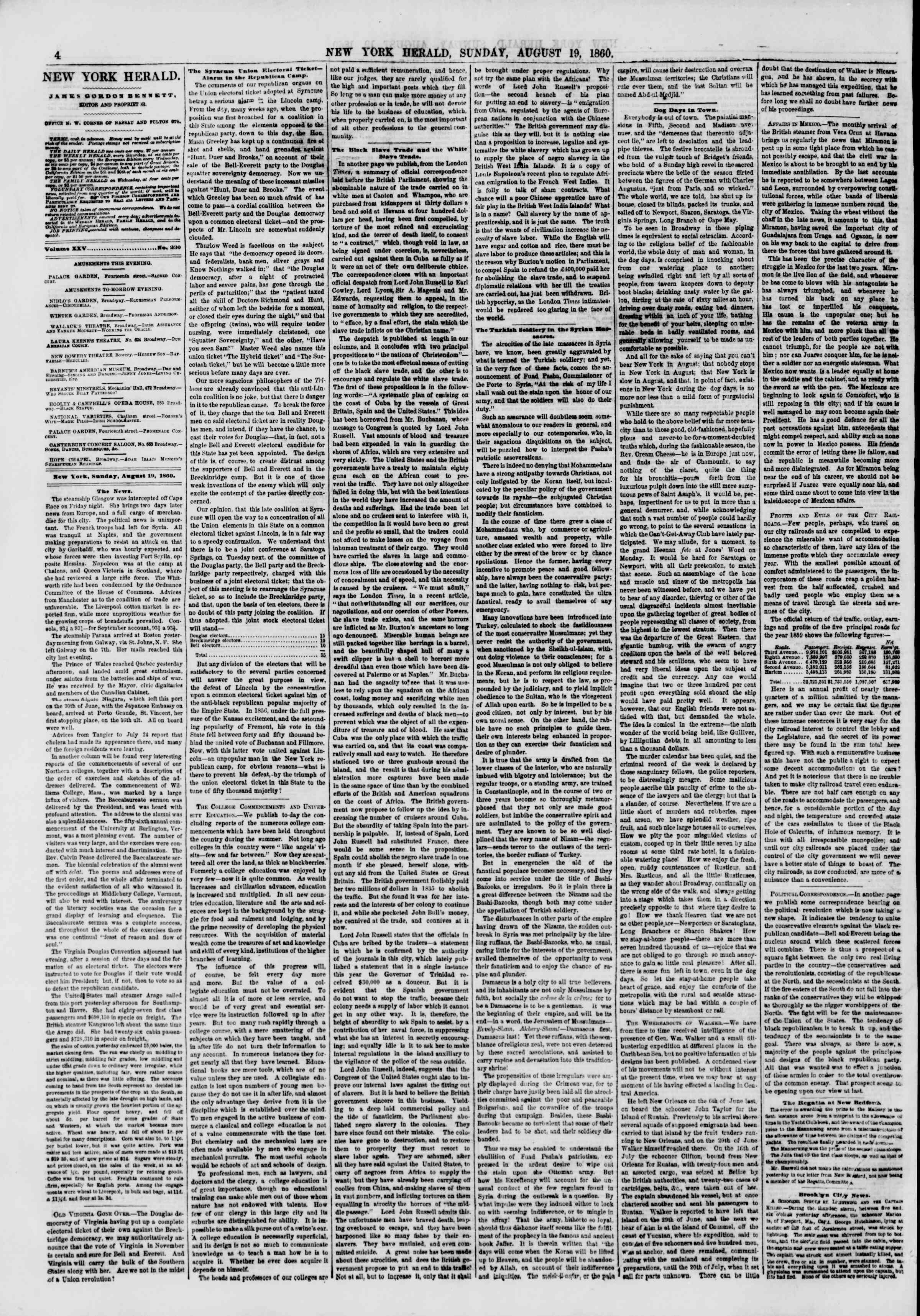 Newspaper of The New York Herald dated August 19, 1860 Page 4