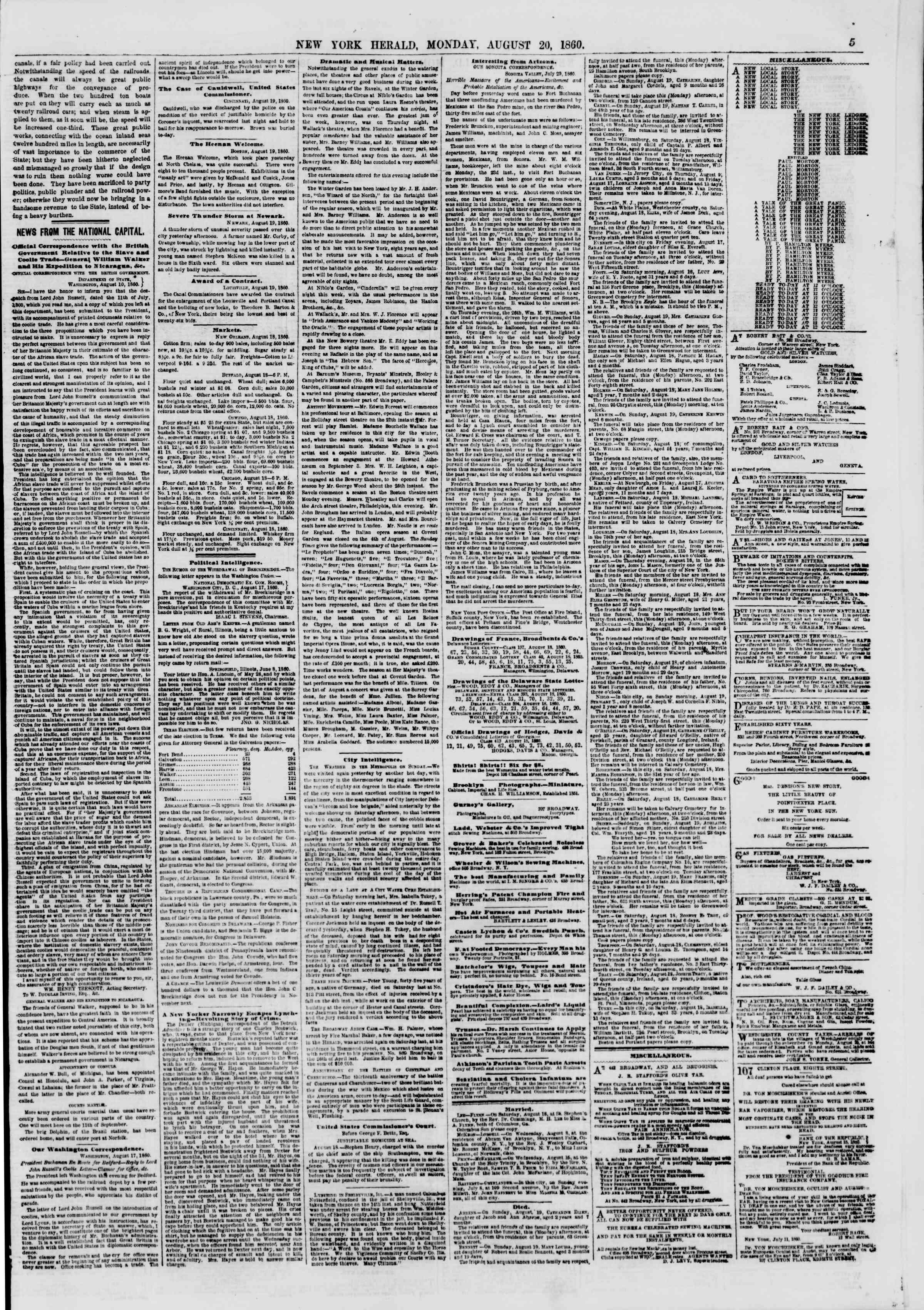 20 Ağustos 1860 tarihli The New York Herald Gazetesi Sayfa 5