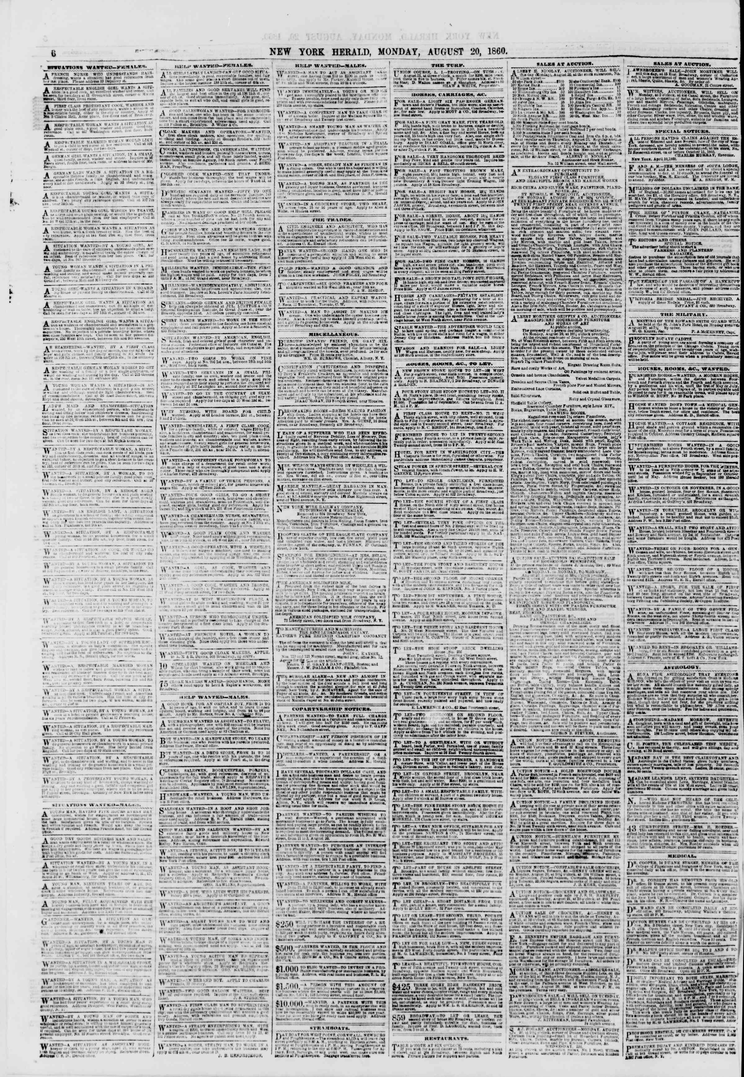 Newspaper of The New York Herald dated August 20, 1860 Page 6