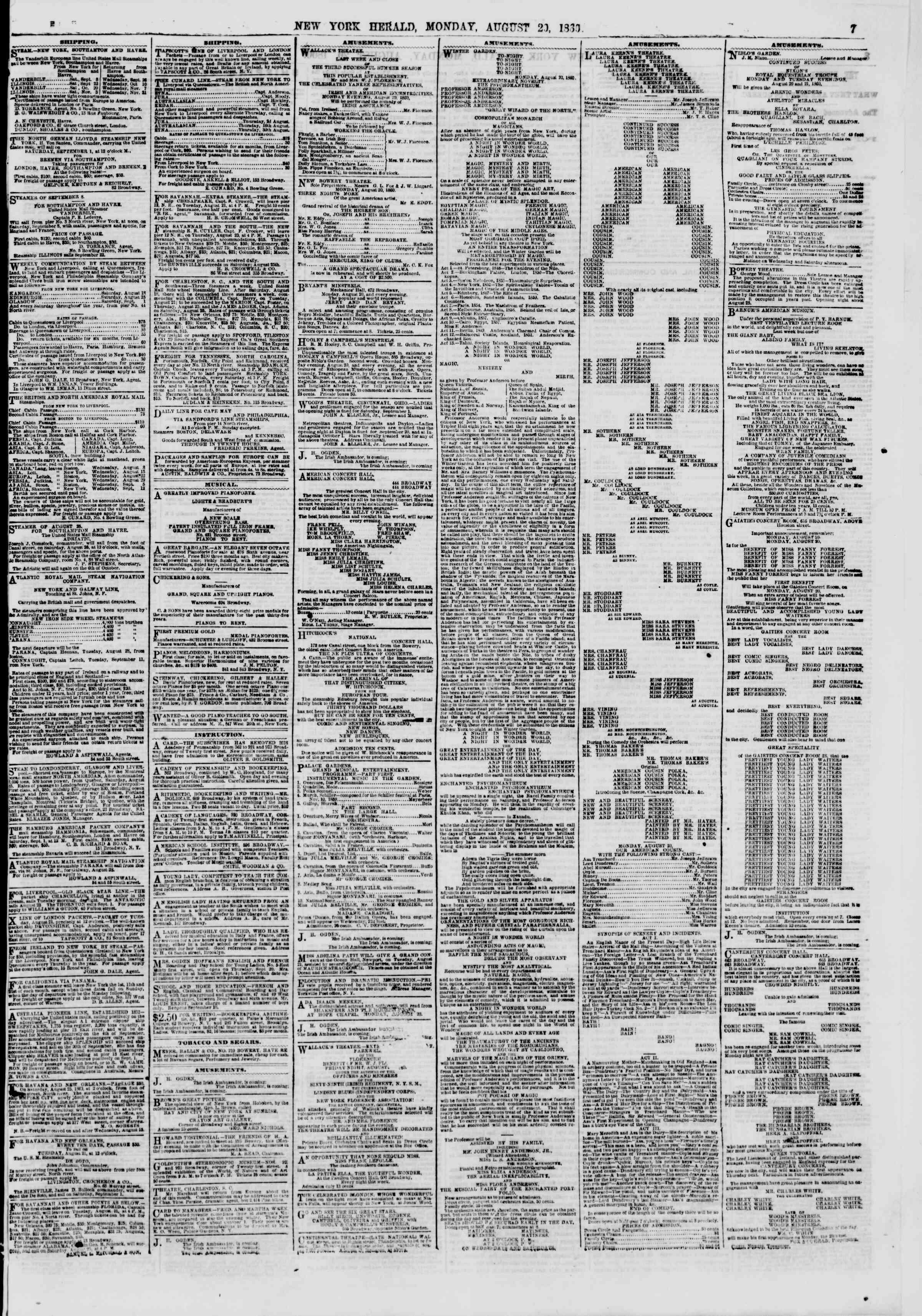 Newspaper of The New York Herald dated August 20, 1860 Page 7