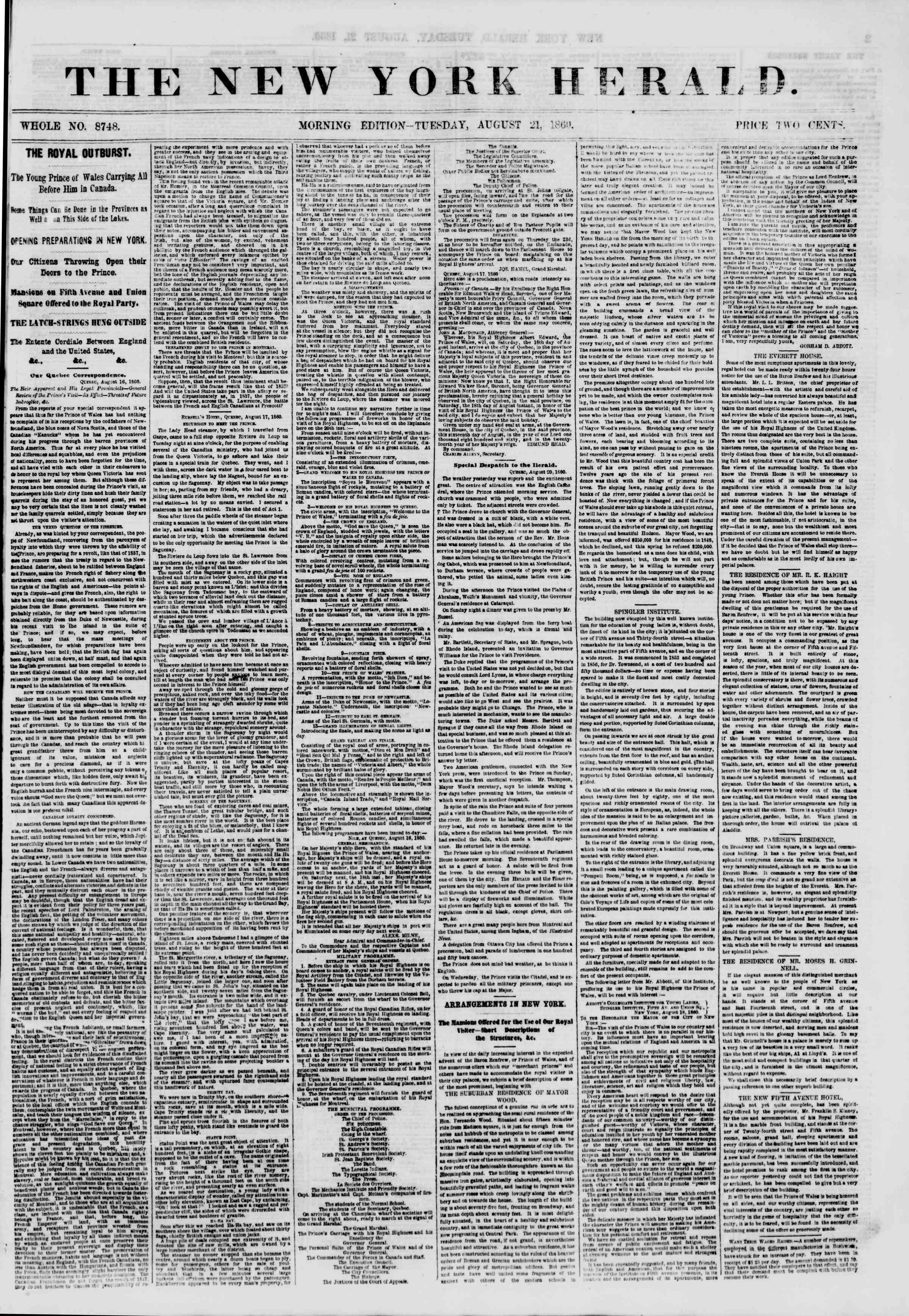 Newspaper of The New York Herald dated August 21, 1860 Page 1