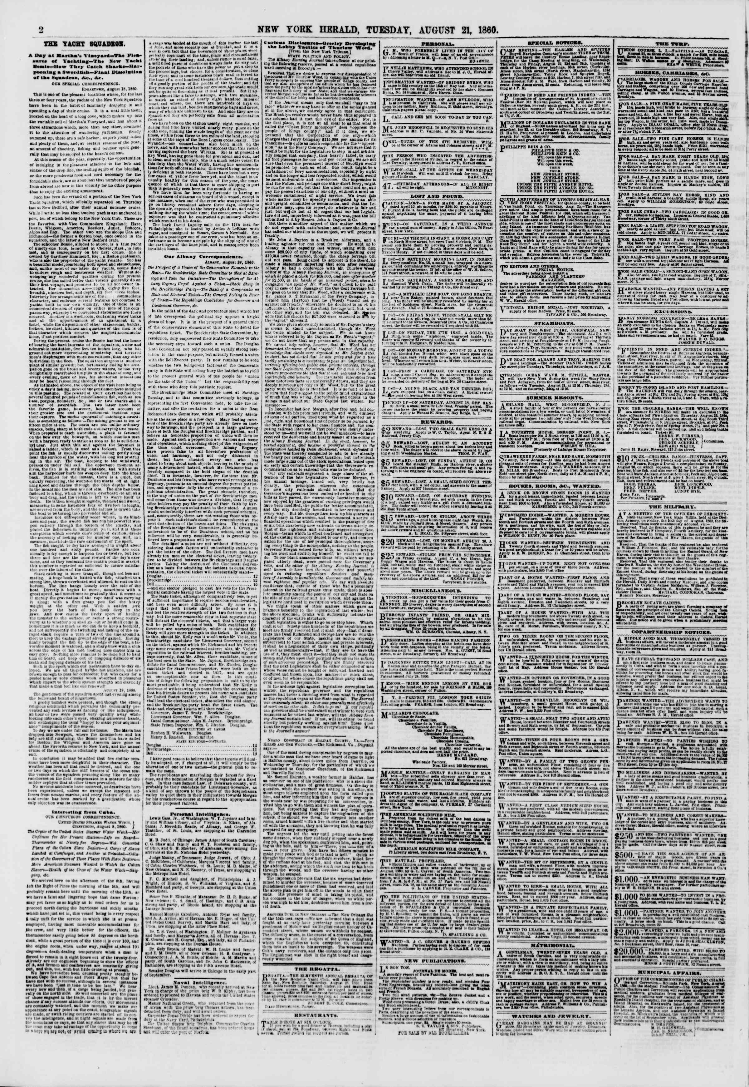 Newspaper of The New York Herald dated August 21, 1860 Page 2