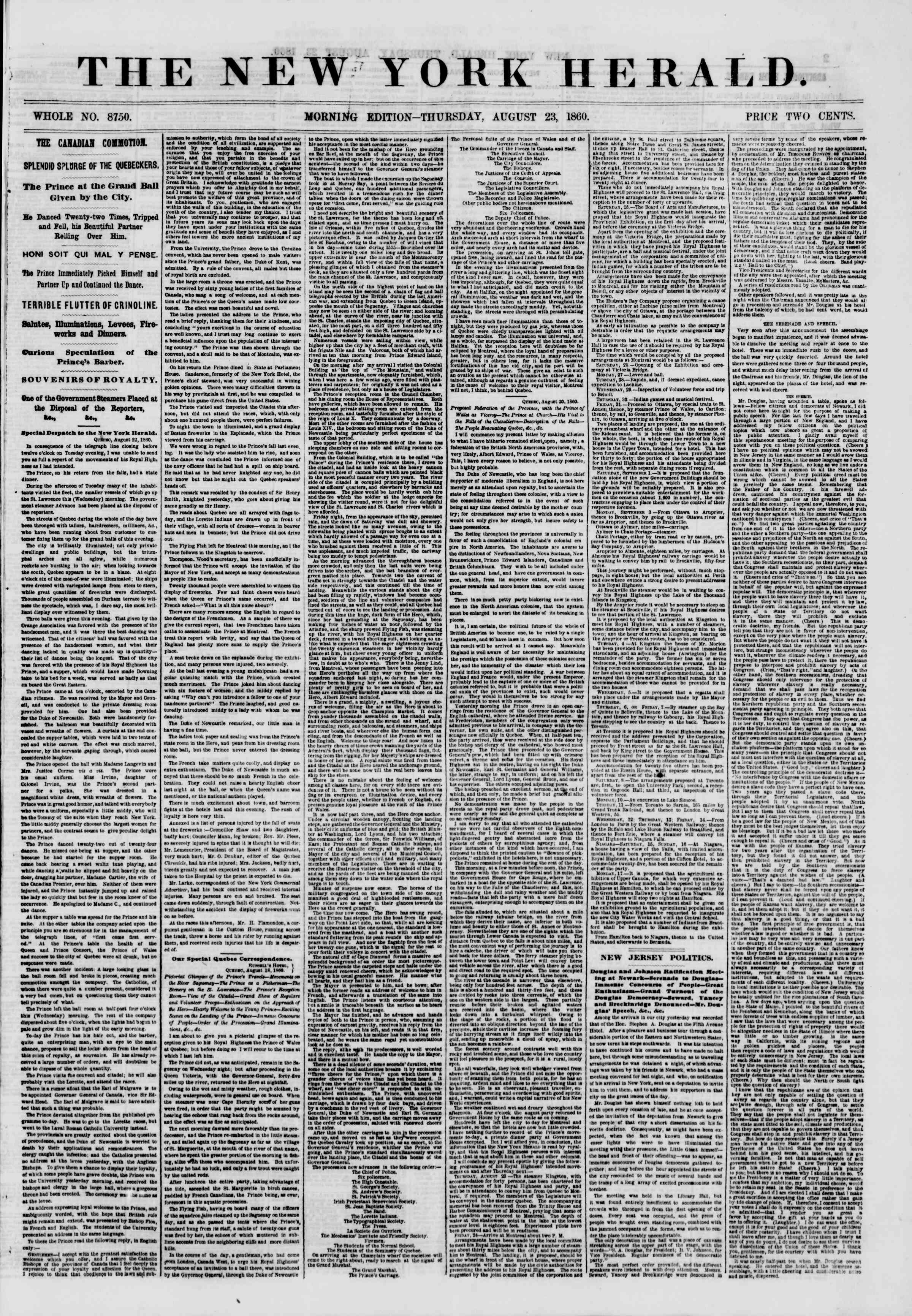 23 Ağustos 1860 tarihli The New York Herald Gazetesi Sayfa 1