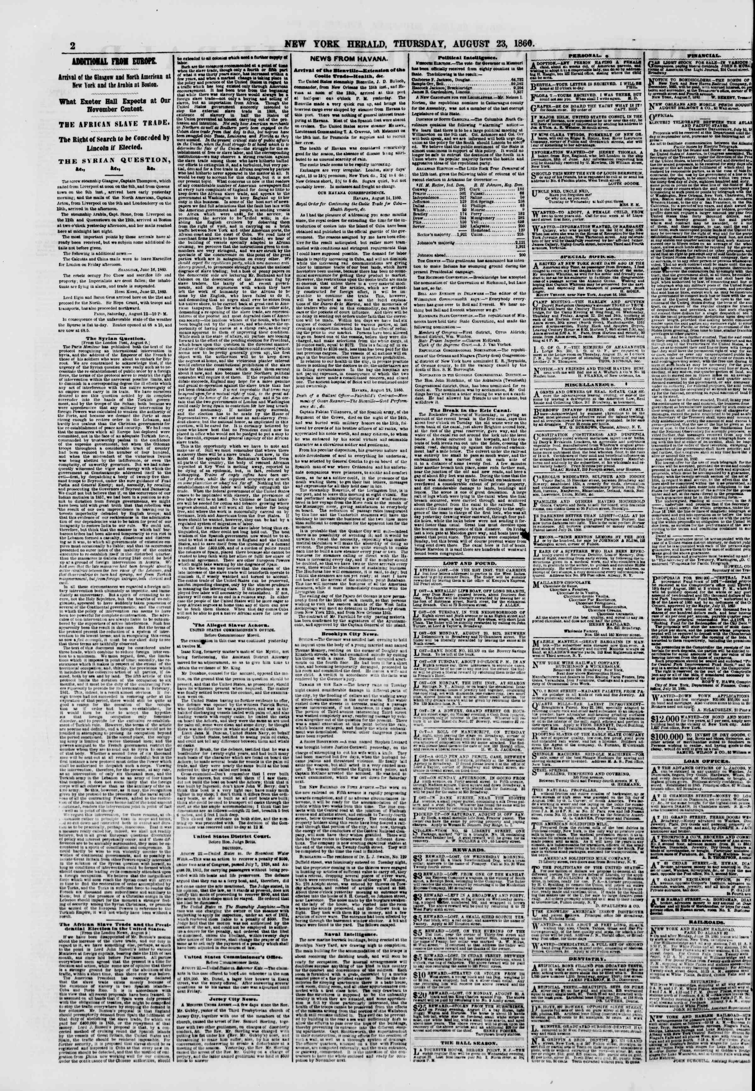 Newspaper of The New York Herald dated August 23, 1860 Page 2