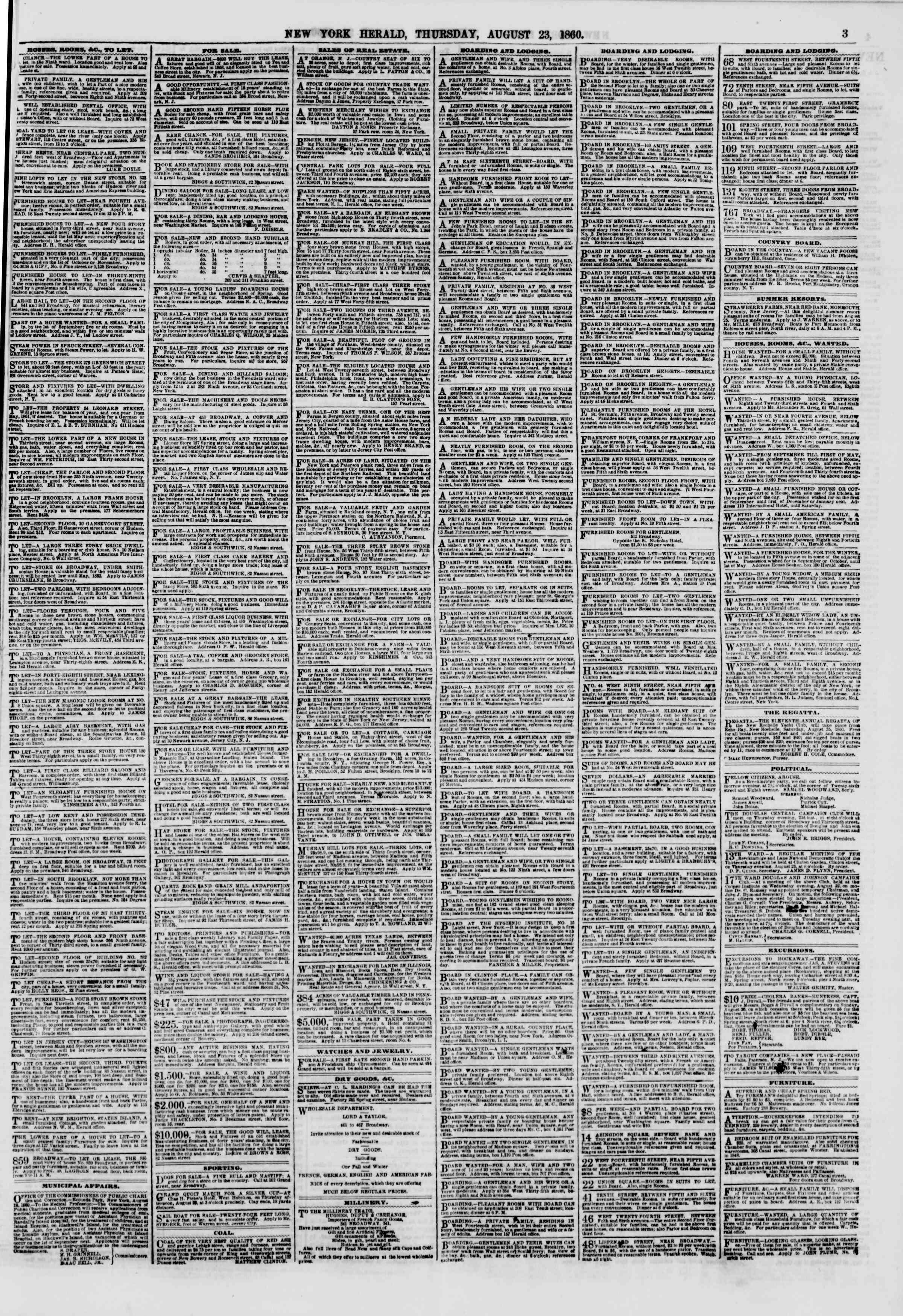 Newspaper of The New York Herald dated August 23, 1860 Page 3