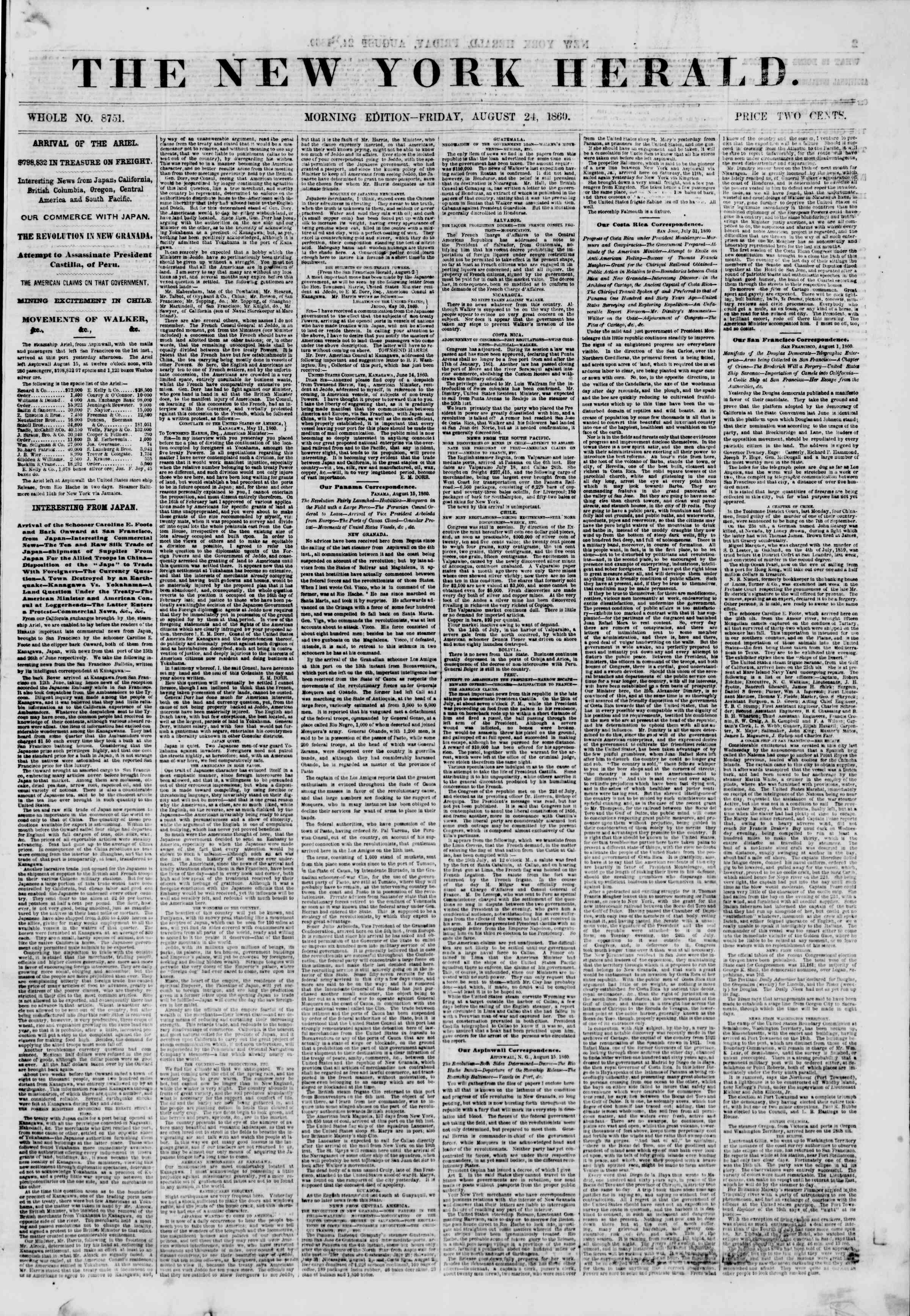 Newspaper of The New York Herald dated August 24, 1860 Page 1