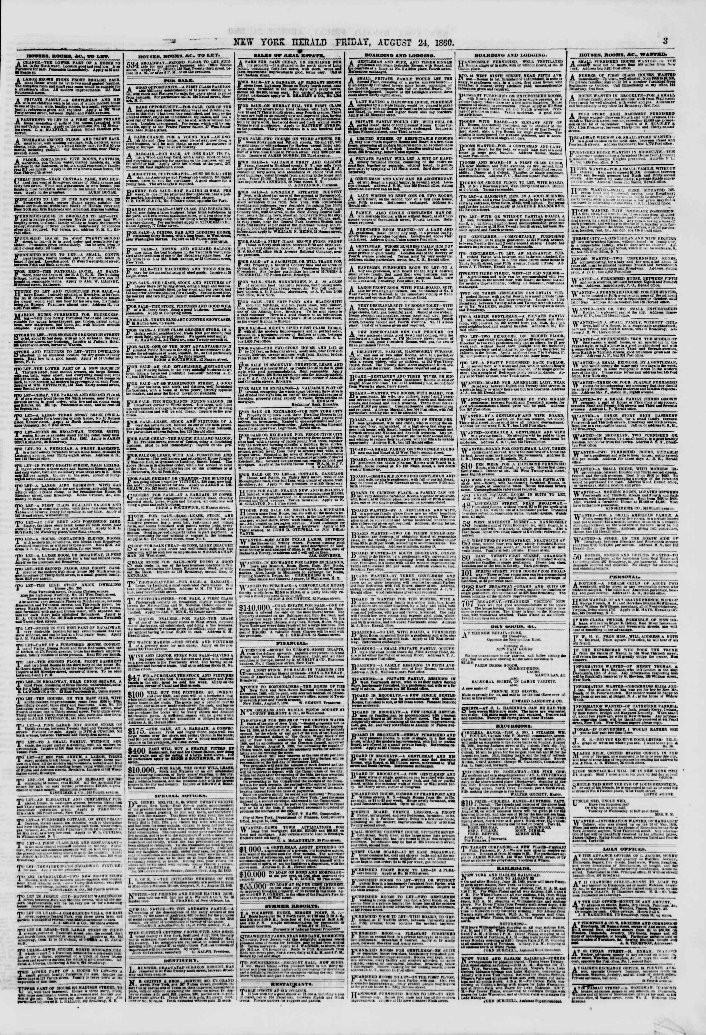 Newspaper of The New York Herald dated 24 Ağustos 1860 Page 3