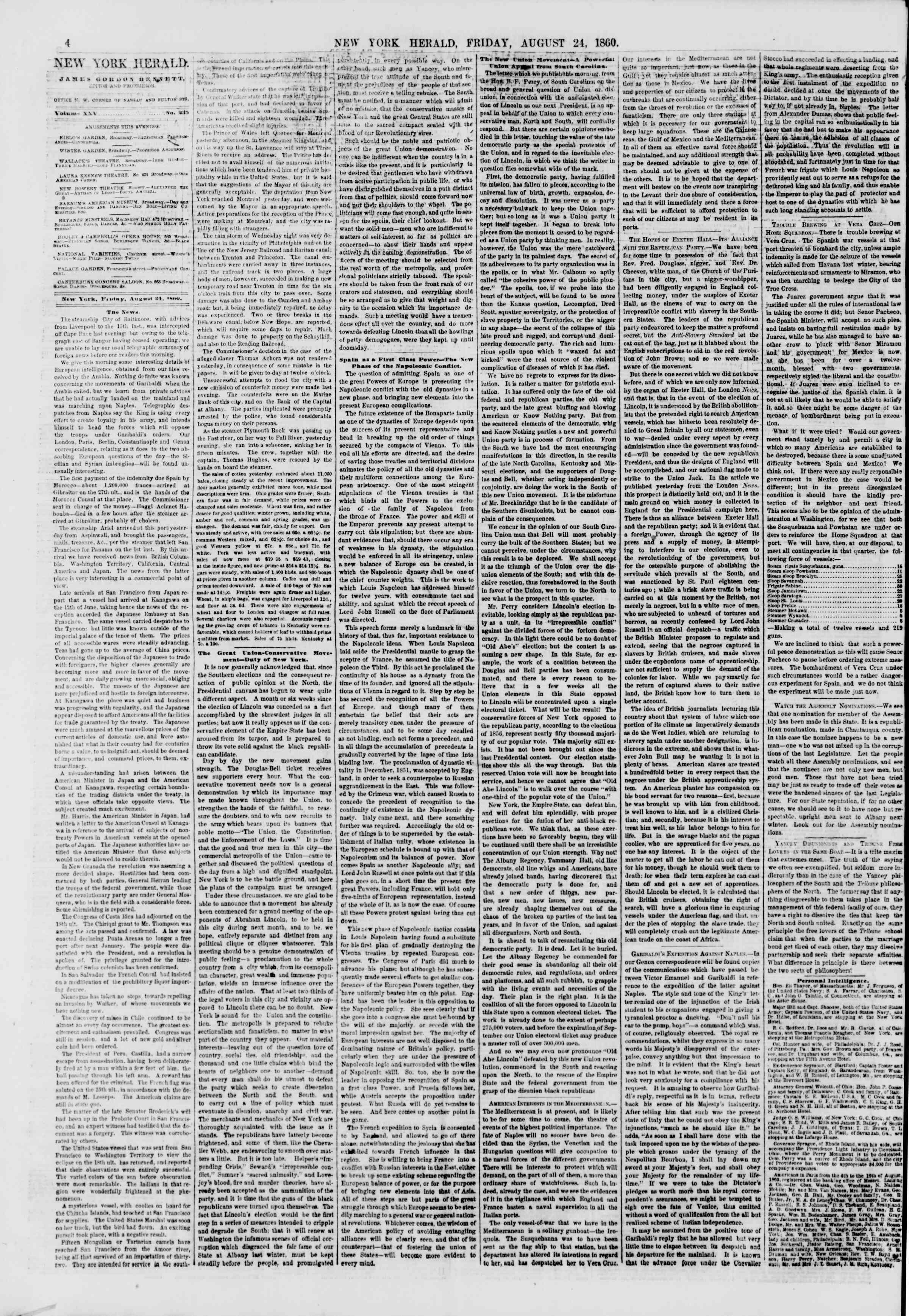 24 Ağustos 1860 tarihli The New York Herald Gazetesi Sayfa 4