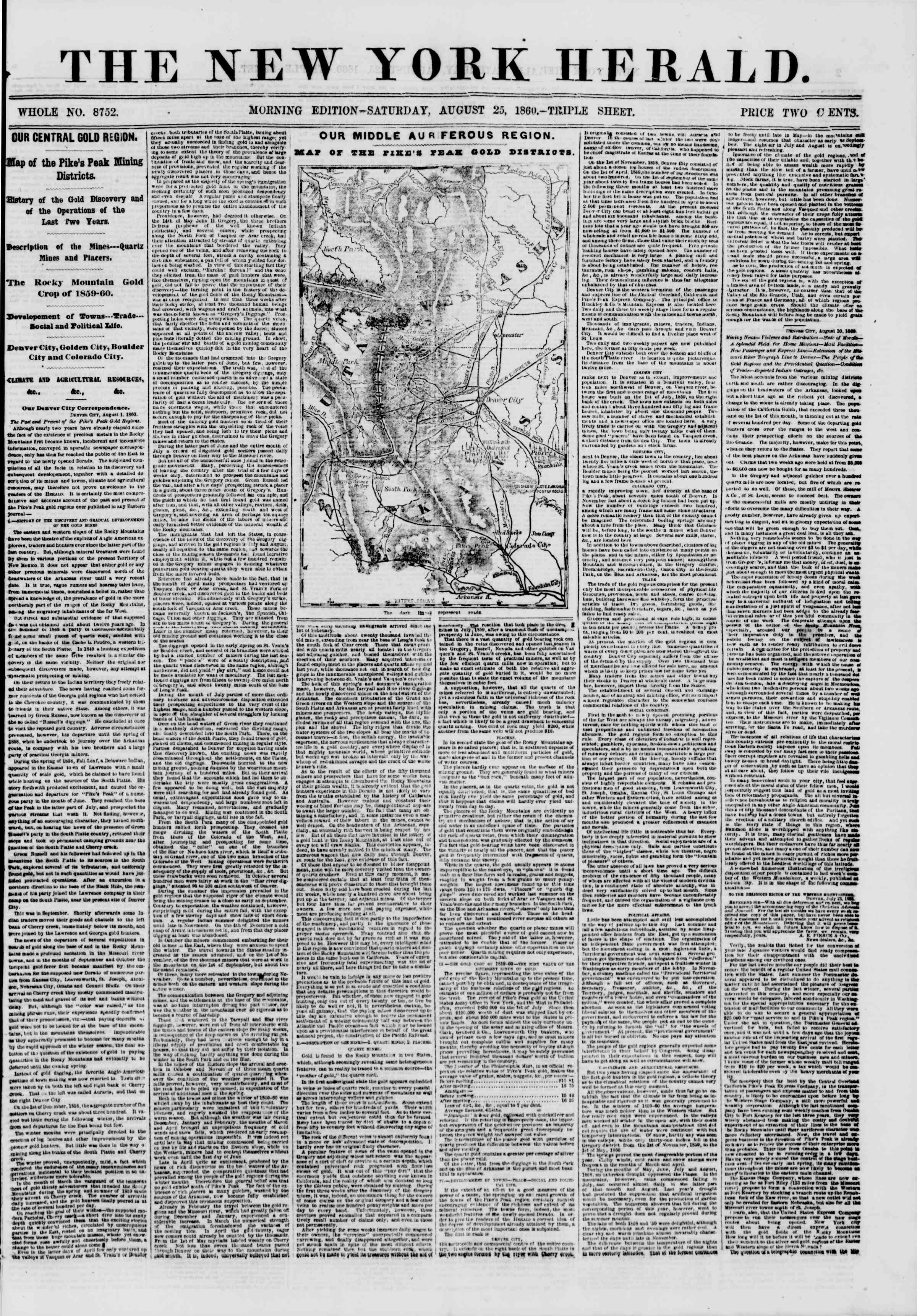 Newspaper of The New York Herald dated August 25, 1860 Page 1
