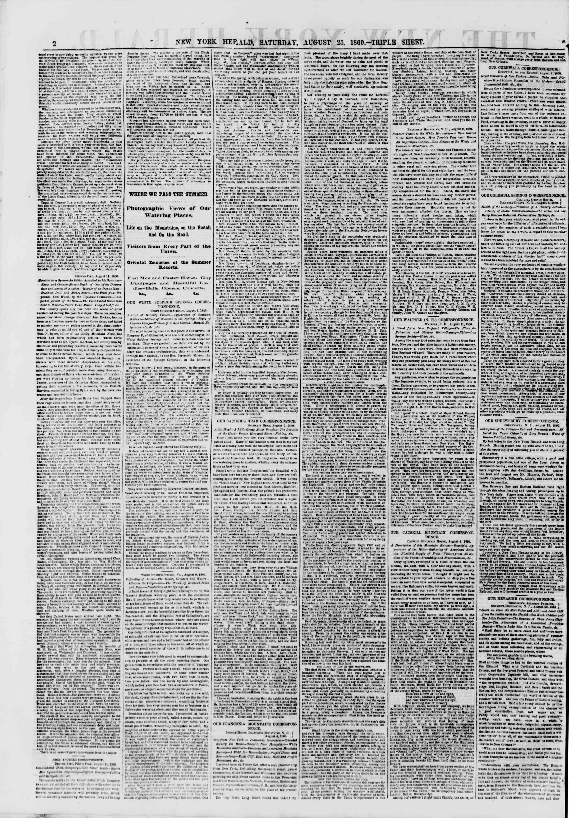 Newspaper of The New York Herald dated August 25, 1860 Page 2