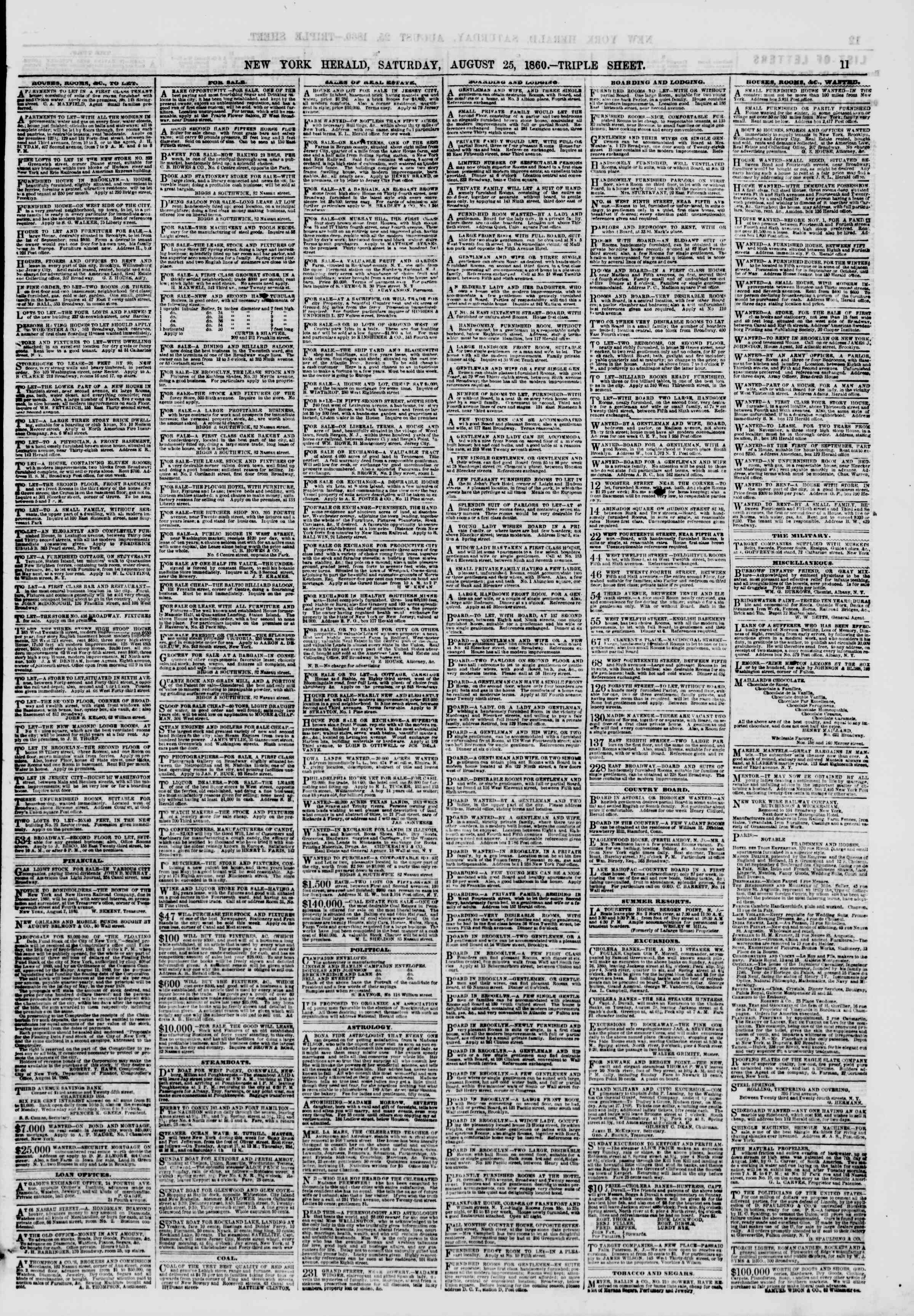 Newspaper of The New York Herald dated August 25, 1860 Page 11