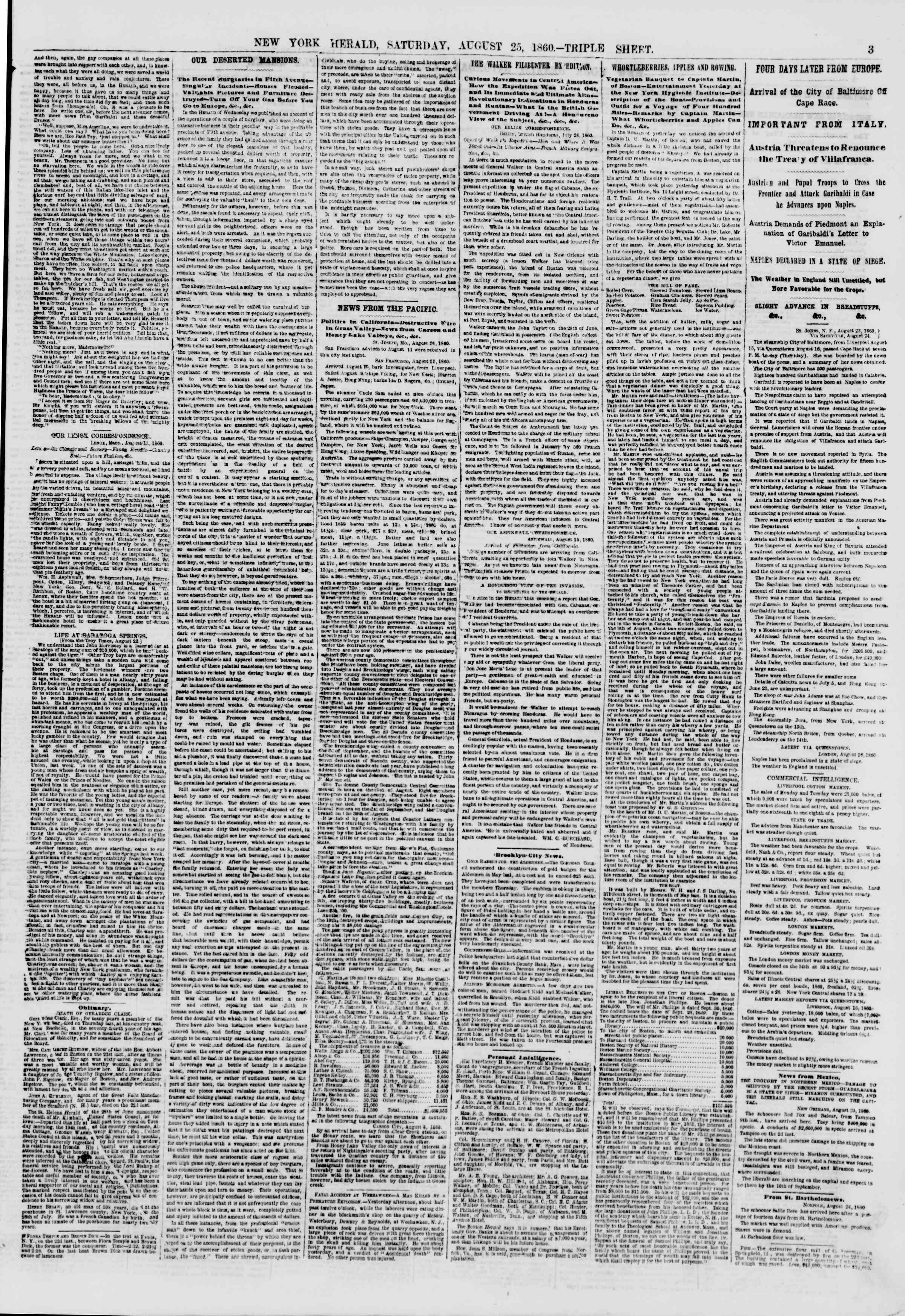 Newspaper of The New York Herald dated August 25, 1860 Page 3