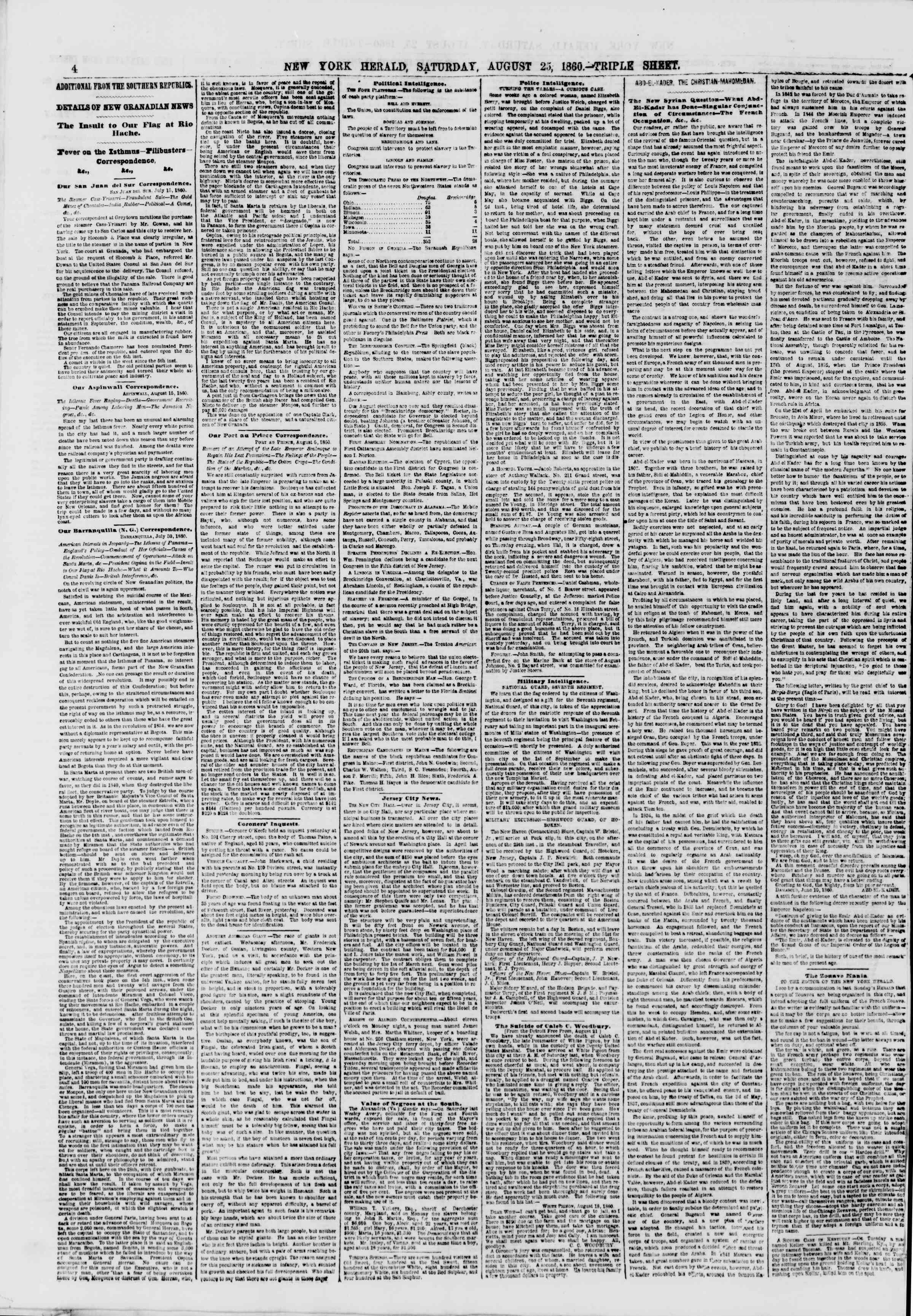 Newspaper of The New York Herald dated August 25, 1860 Page 4
