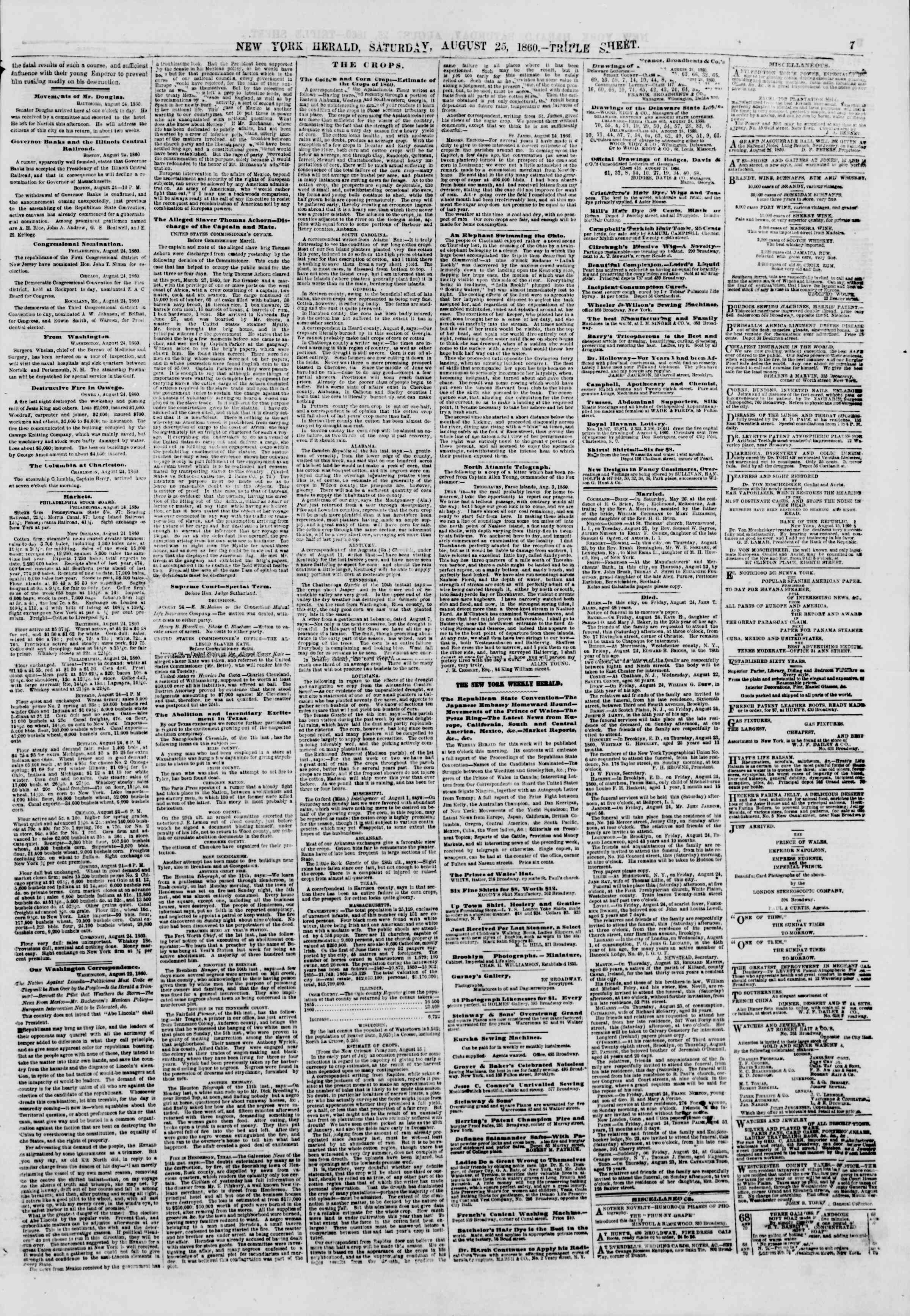 Newspaper of The New York Herald dated August 25, 1860 Page 7