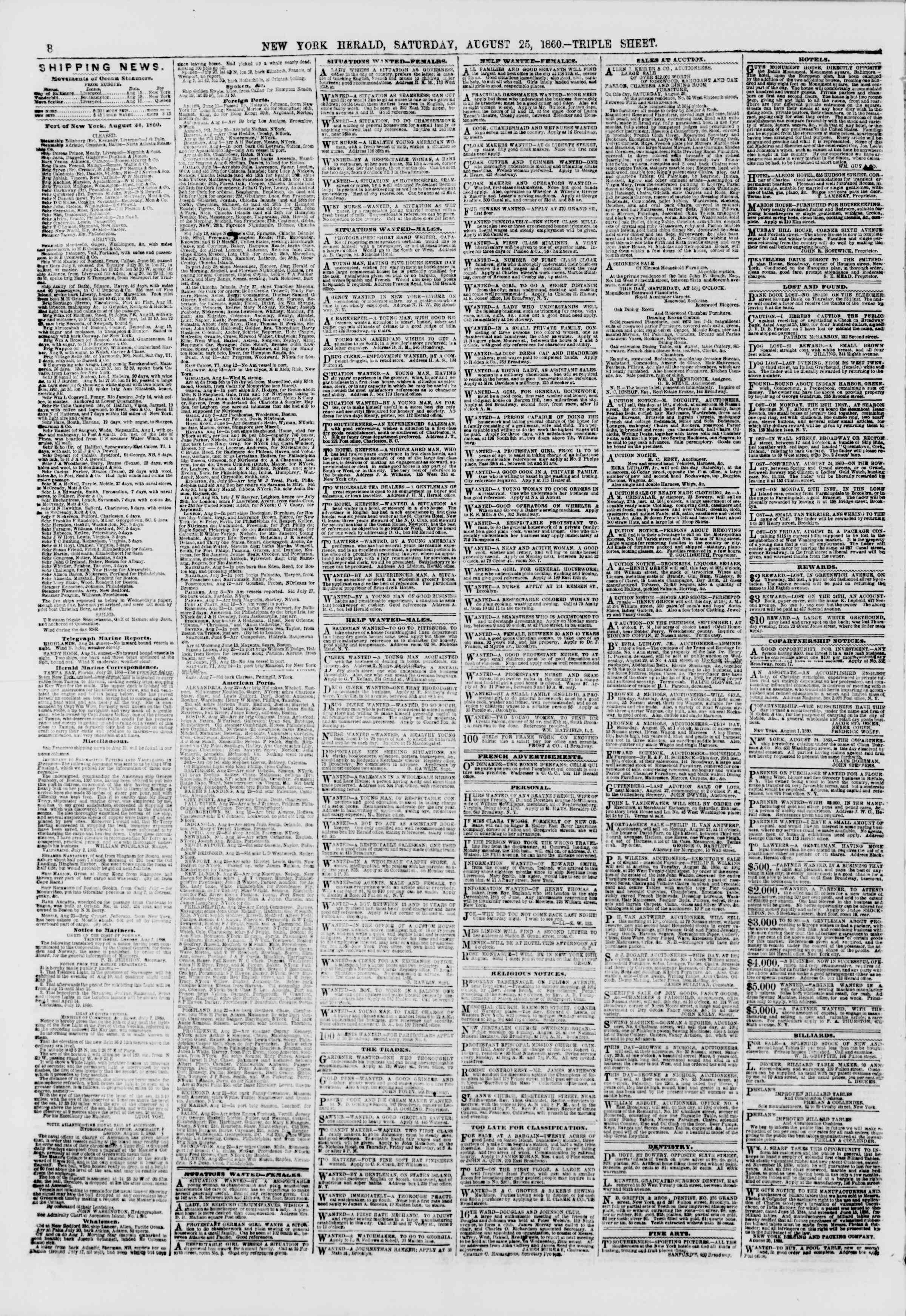 Newspaper of The New York Herald dated August 25, 1860 Page 8