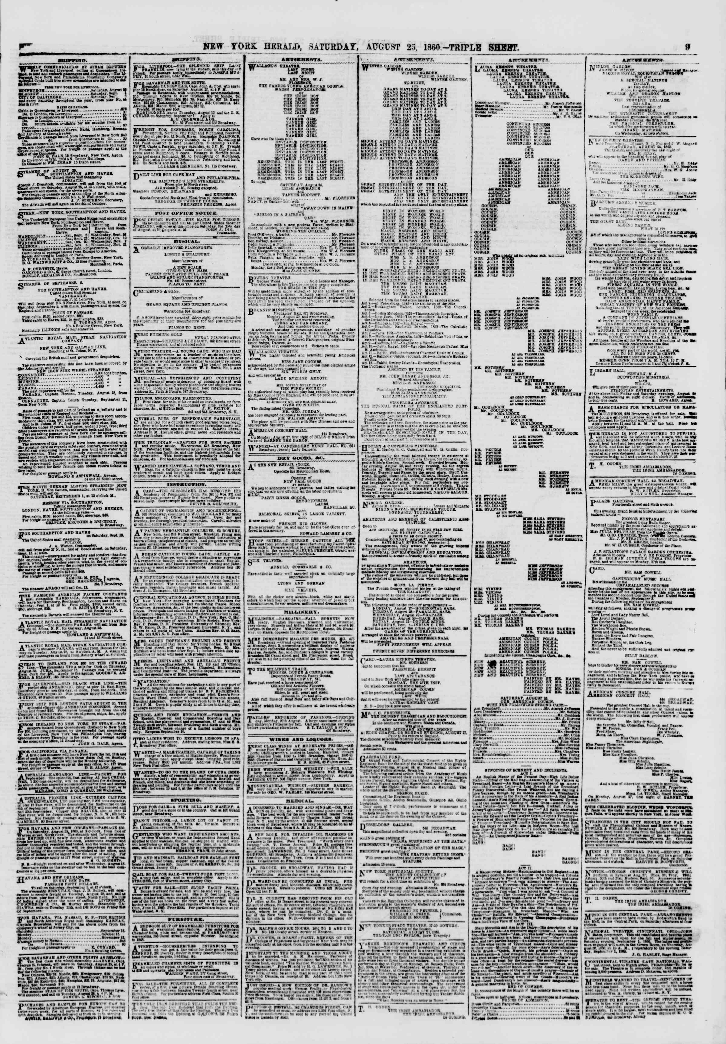 Newspaper of The New York Herald dated August 25, 1860 Page 9