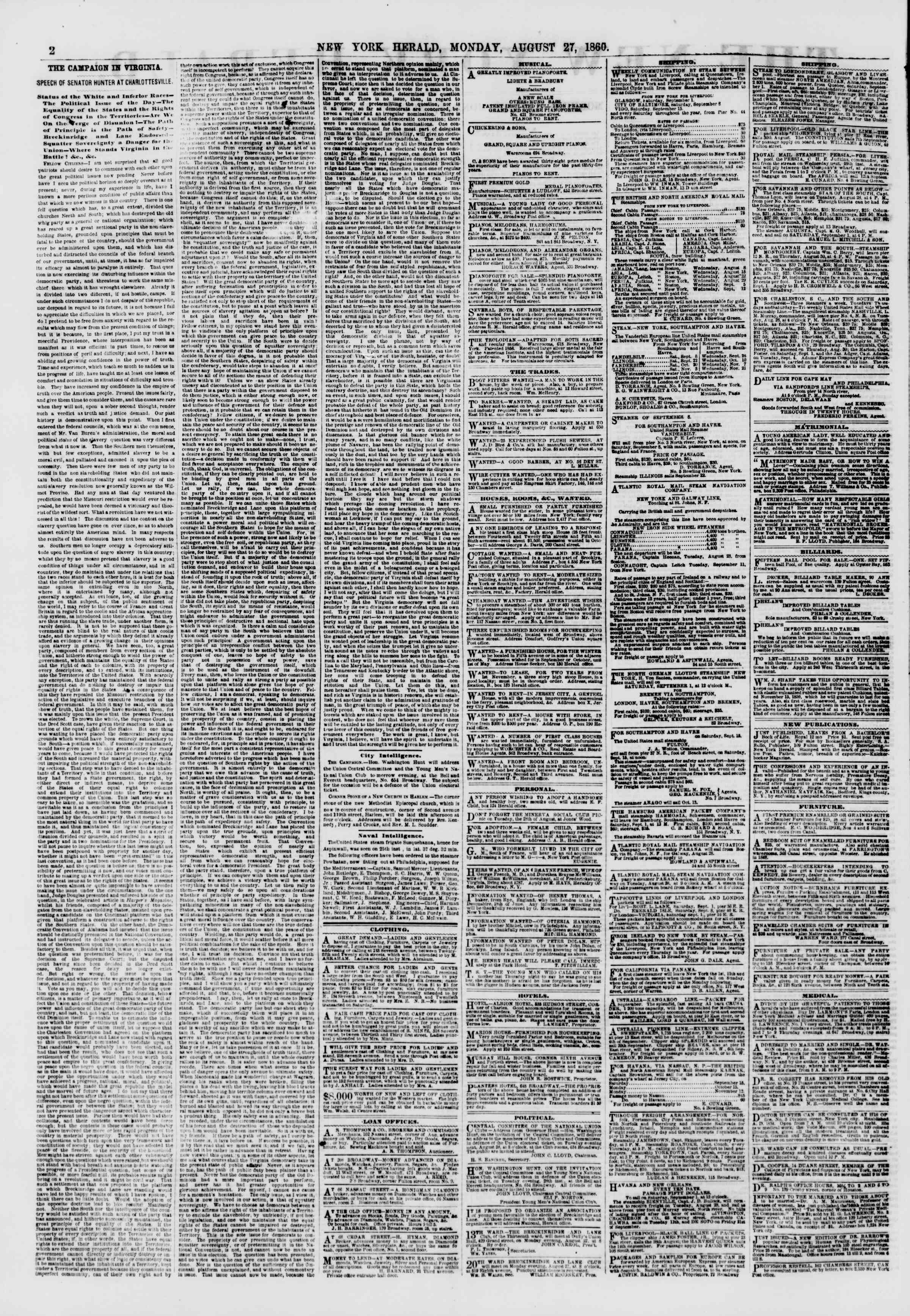 Newspaper of The New York Herald dated August 27, 1860 Page 2