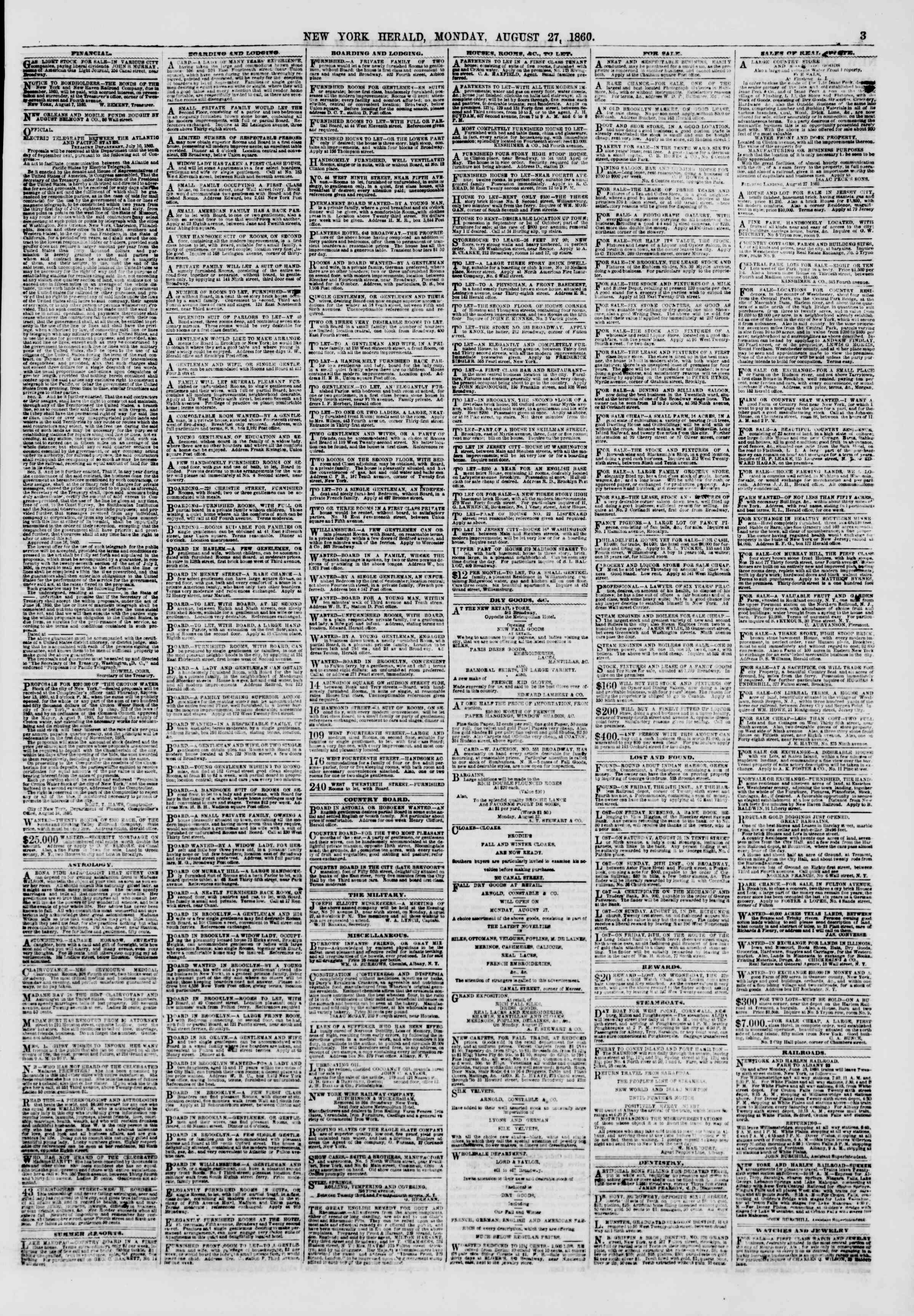 Newspaper of The New York Herald dated August 27, 1860 Page 3